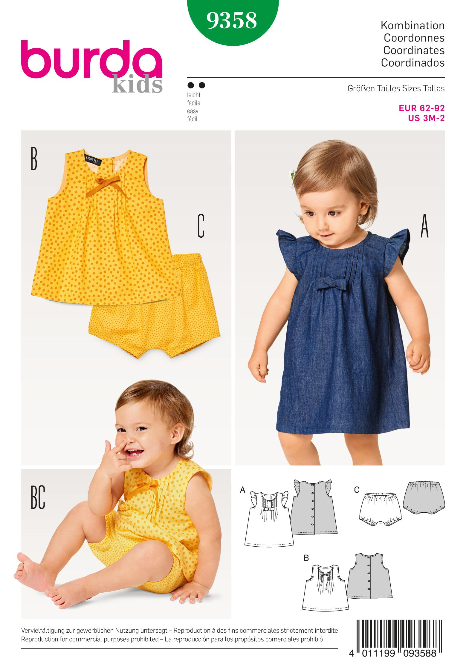 Burda B9358 Baby Dress, Top and Panties