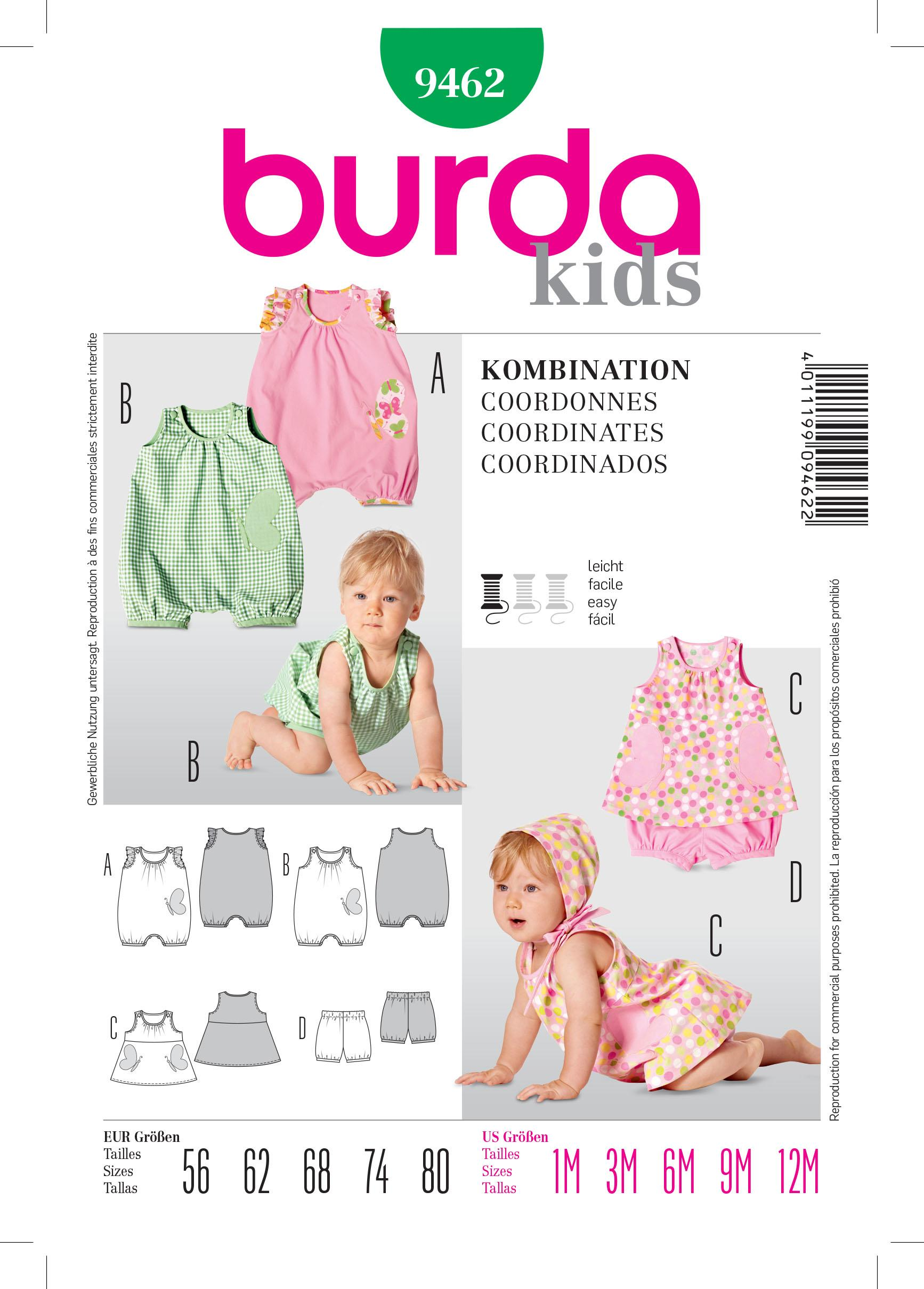 Burda B9462 Kids Coordinates Sewing Pattern
