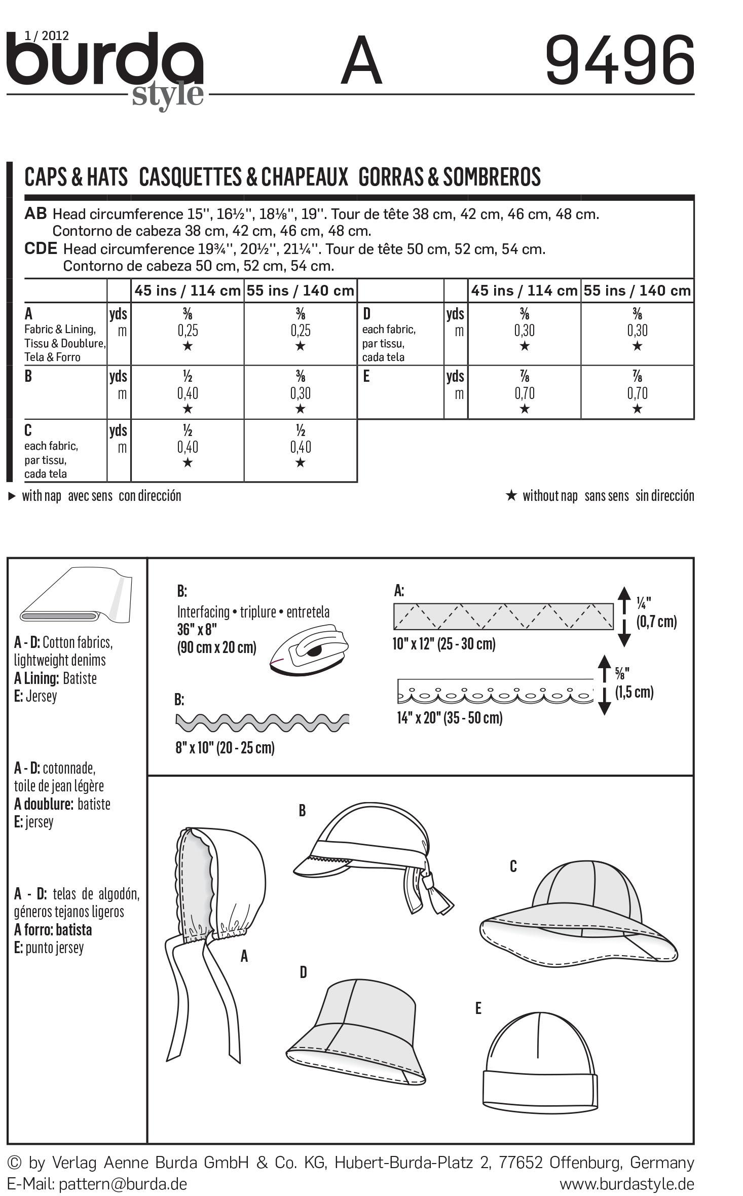 BurdaB9496 Style Caps & Hats Sewing Pattern