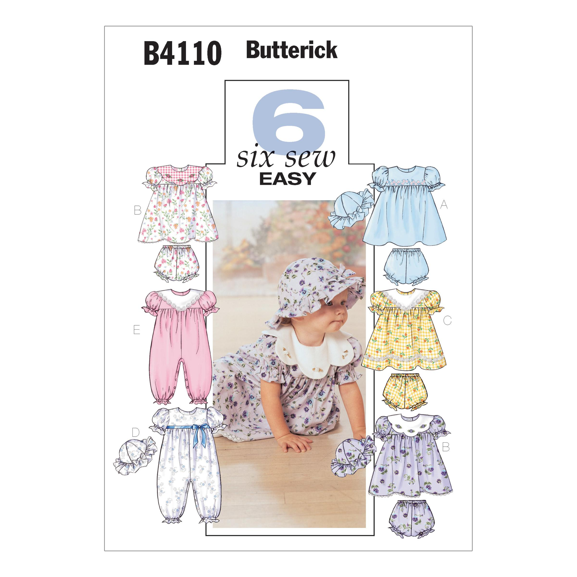 Butterick B4110 Infants' Dress, Panties, Jumpsuit and Hat