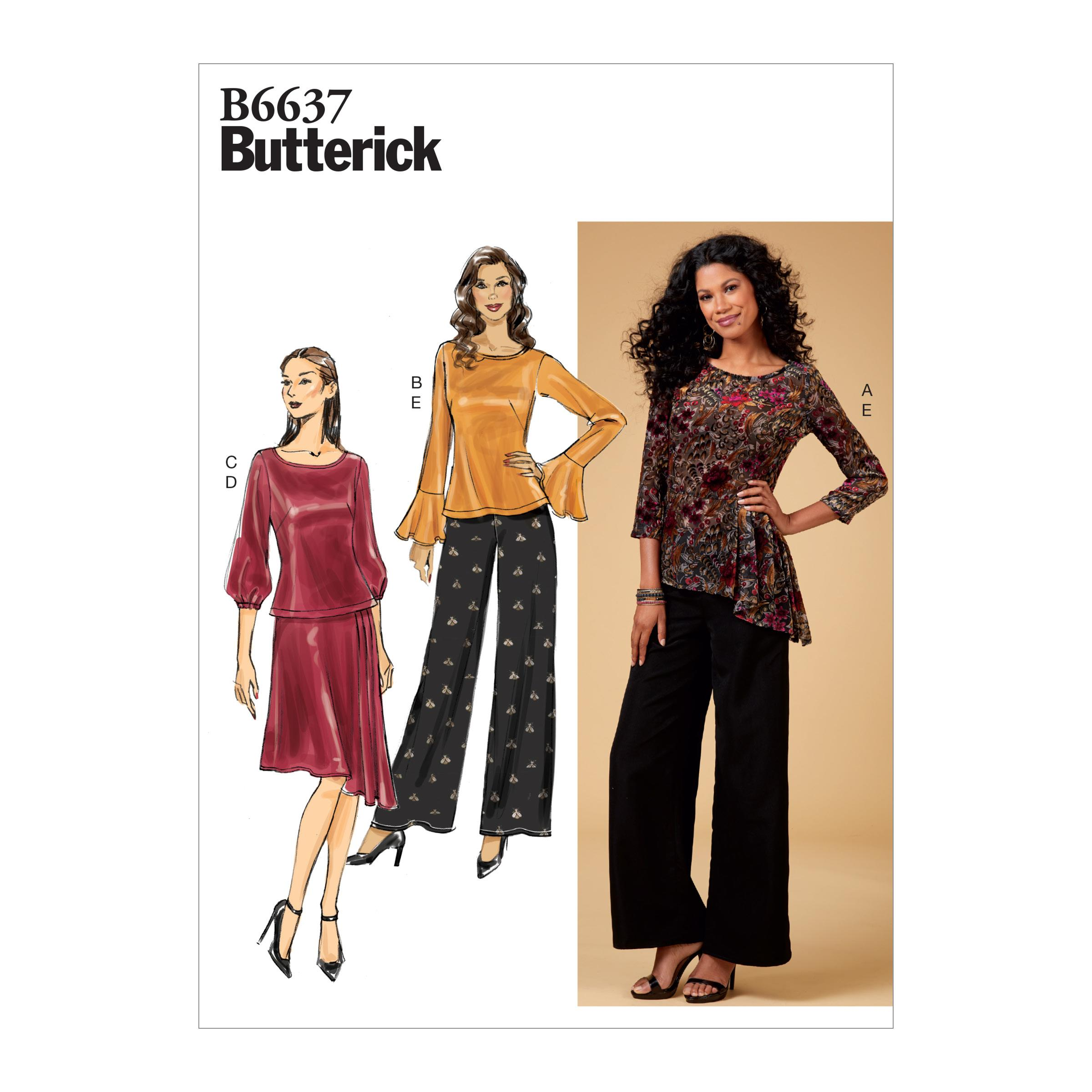 Butterick B6637 Misses'/Misses' Petite Top, Skirt and Pants