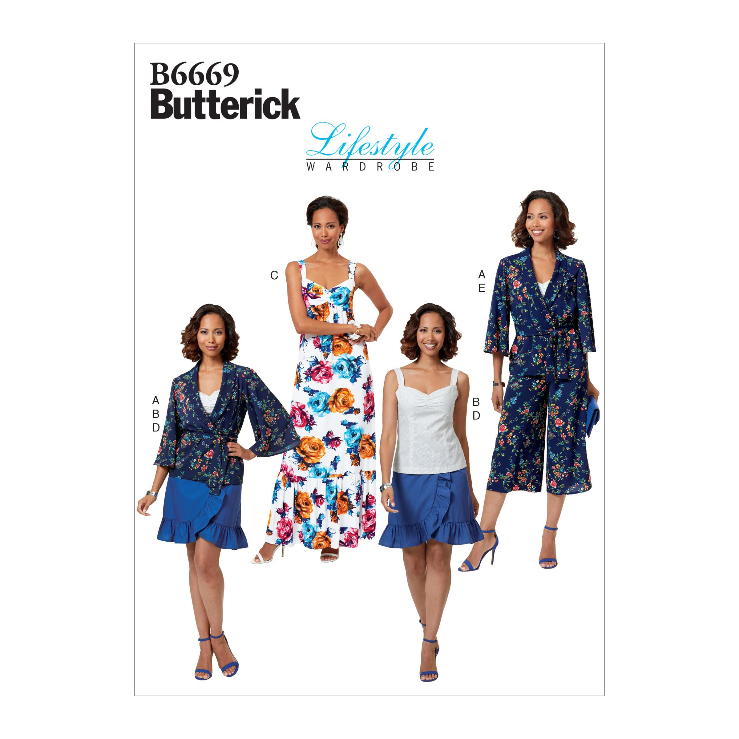 Butterick B6669 Misses'/Miss Petite Jacket, Sash, Top, Dress, Skirt and Pants