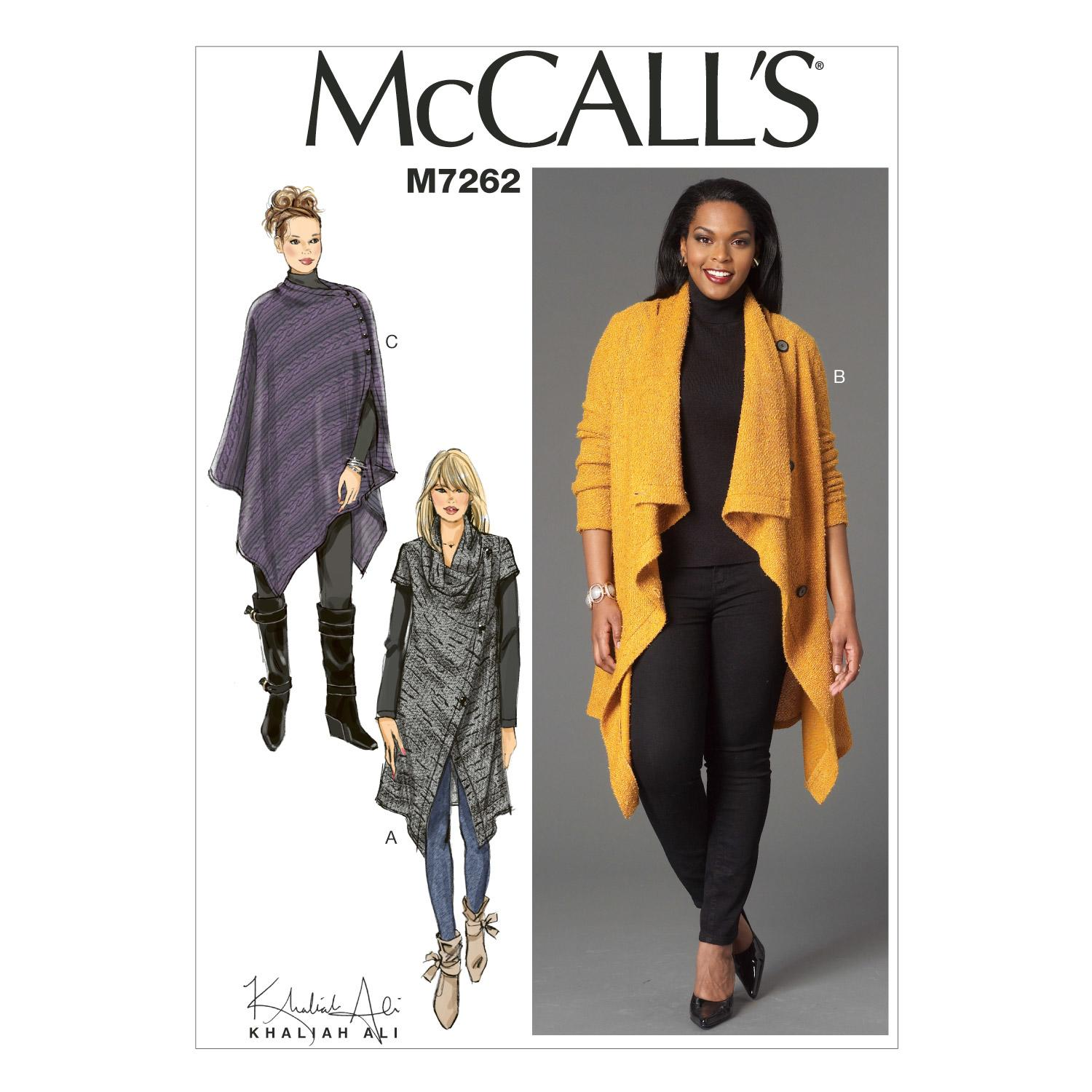 McCalls M7262 Coats/Capes/ Ponchos, Plus Size