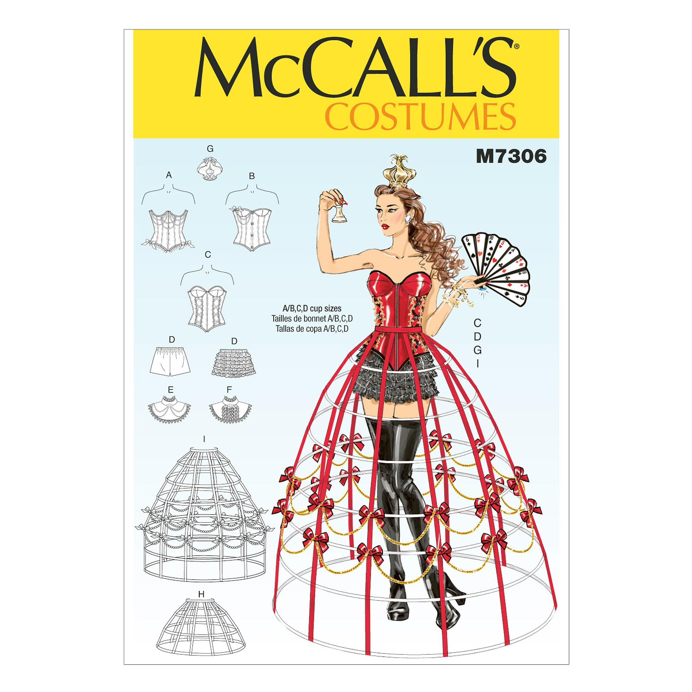 McCalls M7306 A/B, C & D Cup Sizes, Accessories, Corsets, Costumes, Skirts, Bustles & Petticoats