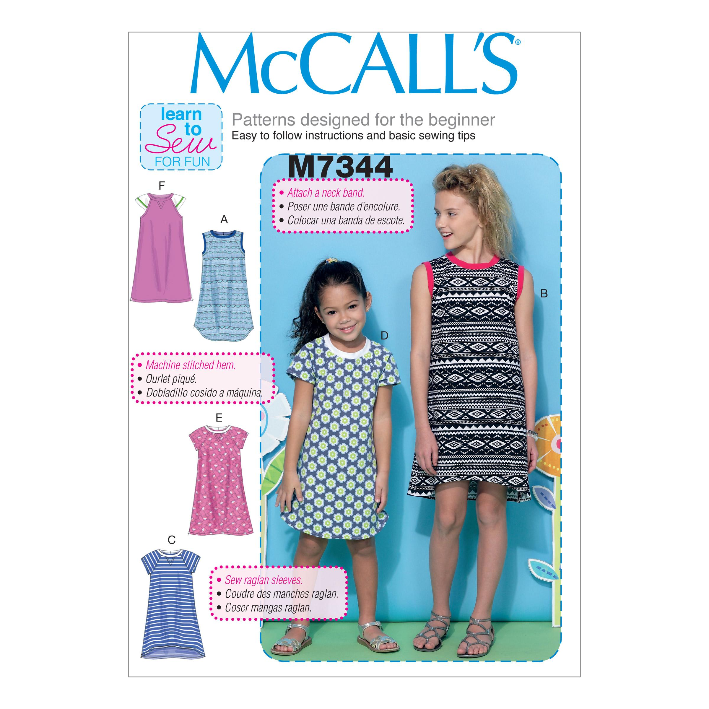 McCalls M7344 Children, Girls/Boys, Learn To Sew for Fun