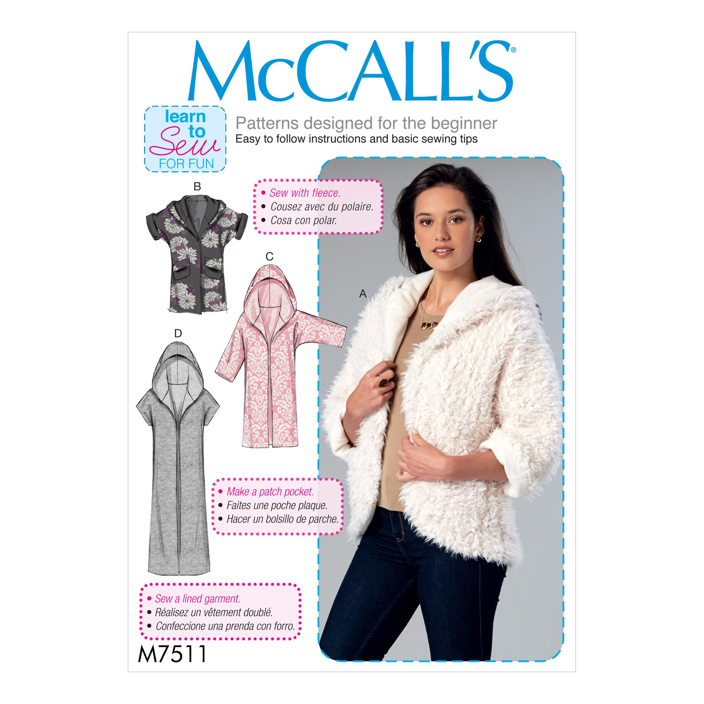McCalls M7511 Misses Jackets & Vests
