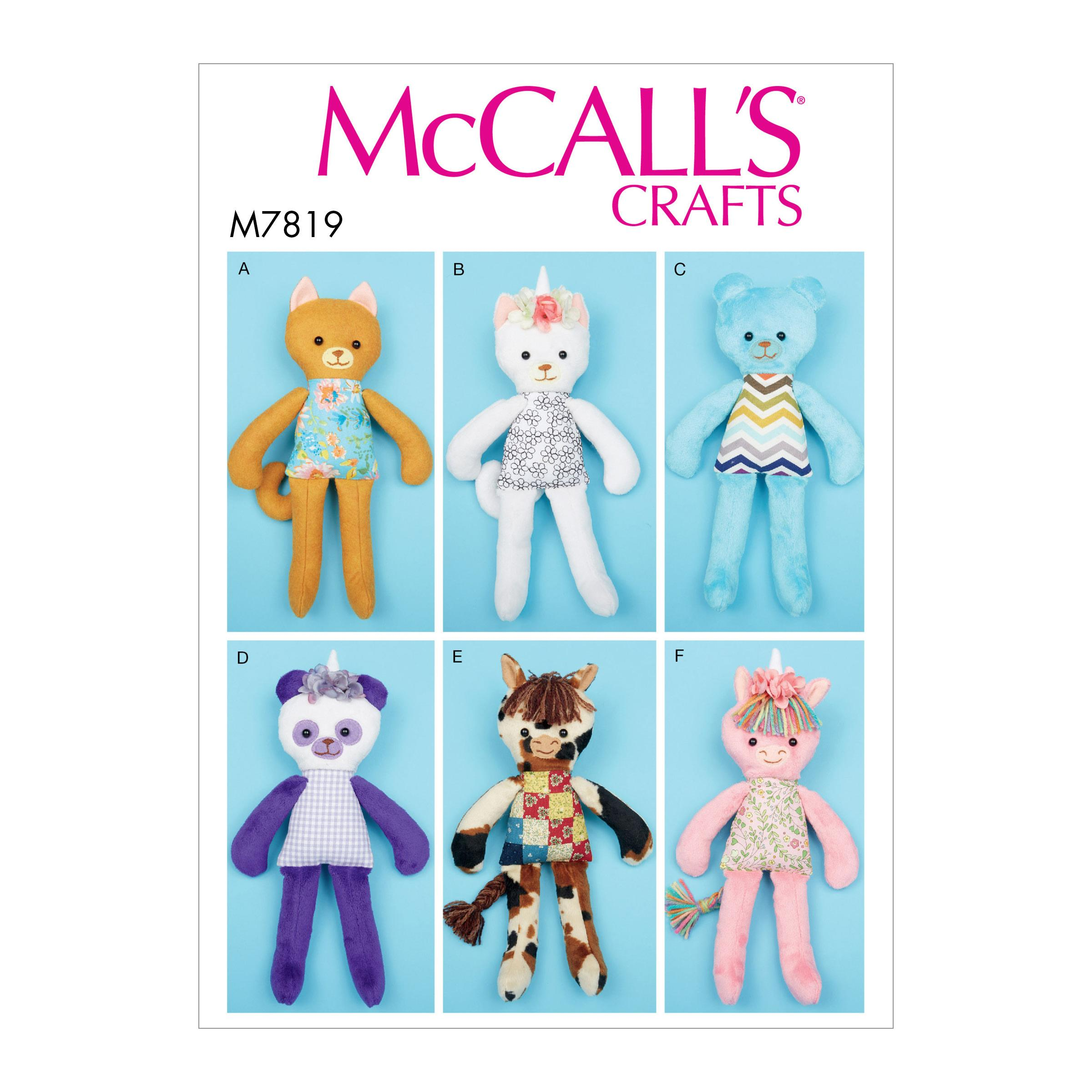 Mccall's Sewing Pattern M7819 Six Soft Toys