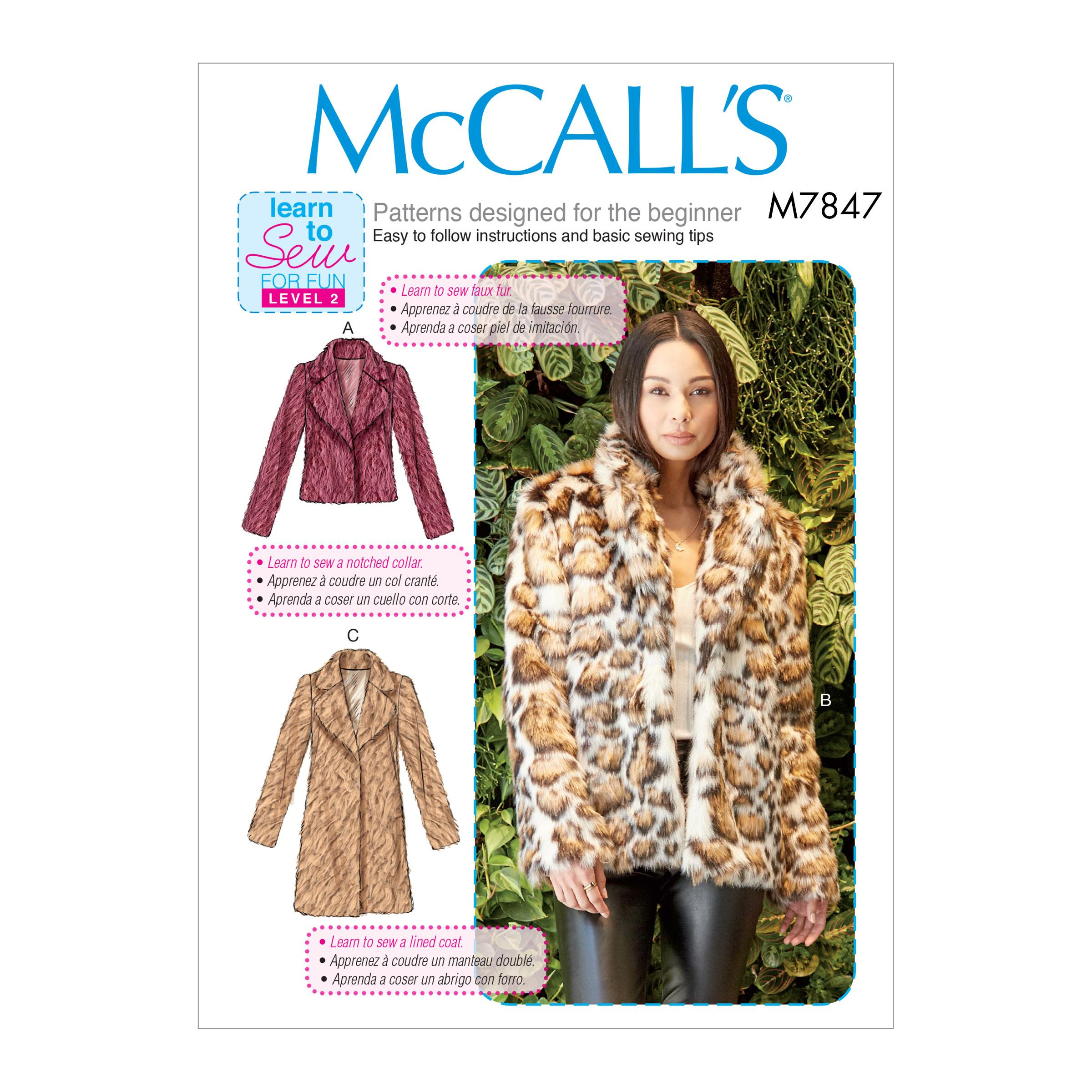 McCalls M7847 Misses Coats, Capes & Ponchos