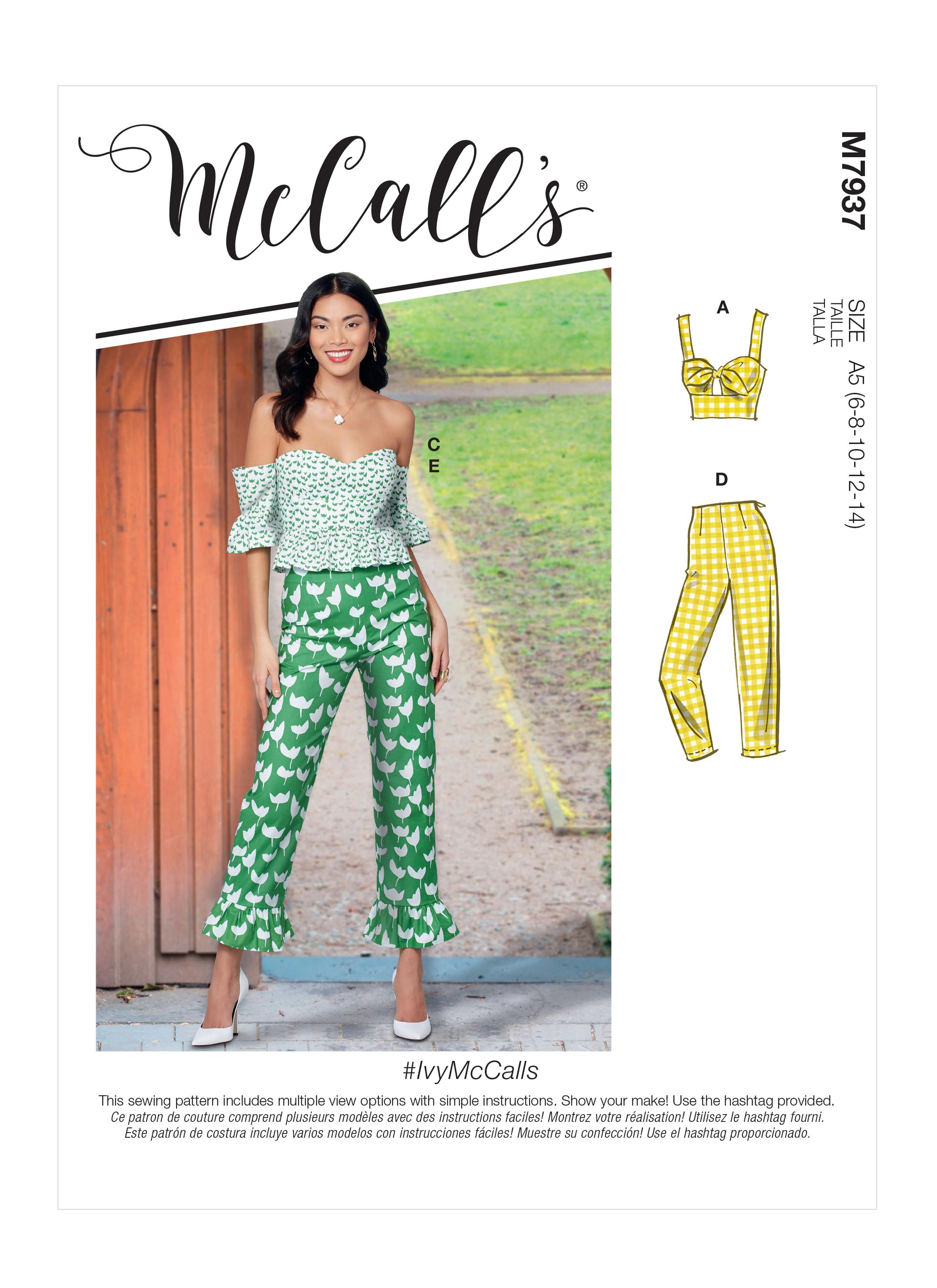 McCalls M7937 Misses Tops, Misses Pants, Jumpsuits & Shorts, Misses Coordinates