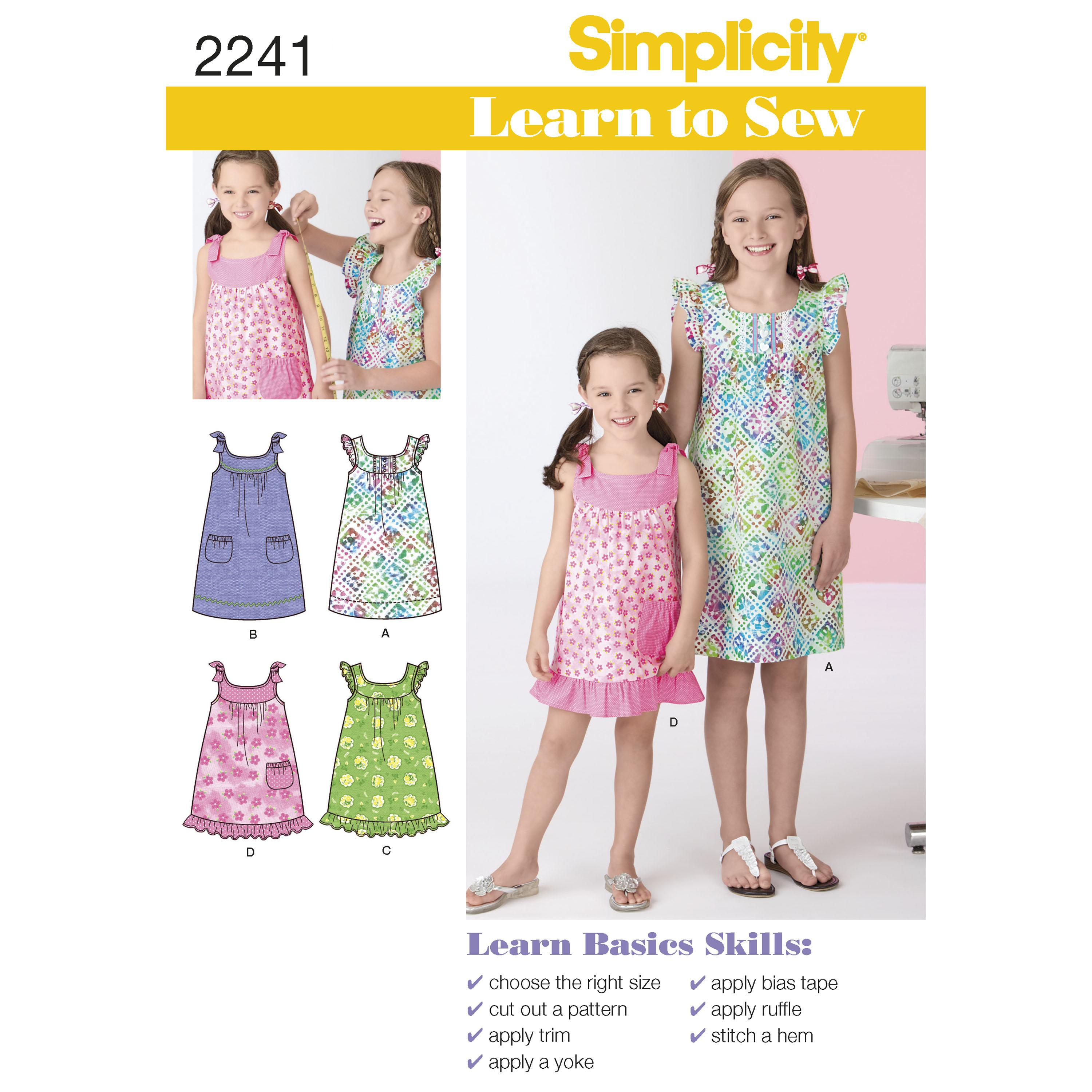 Simplicity S2241 Learn to Sew Child's & Girl's Dresses
