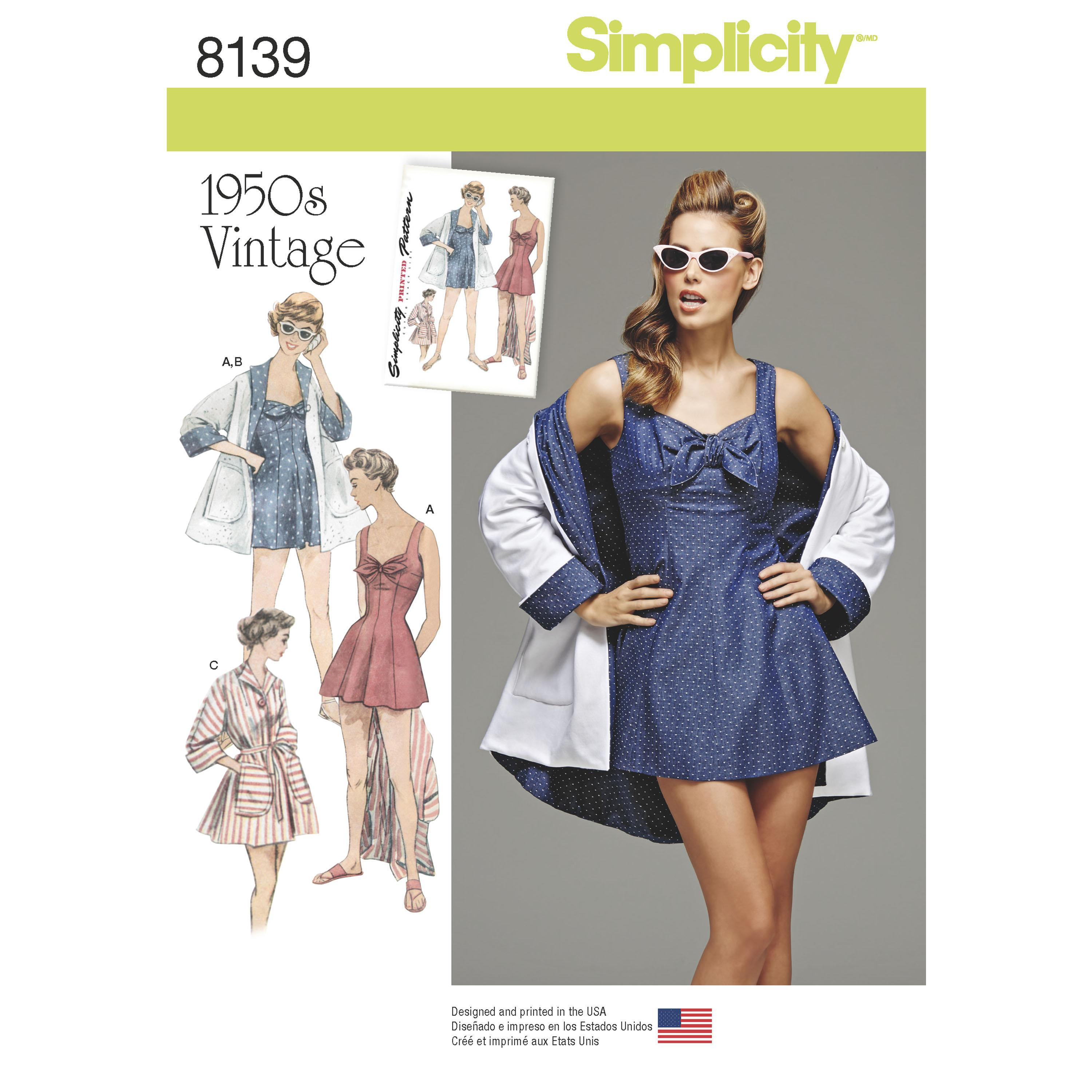 Simplicity S8139 Women's Vintage Bathing Dress and Beach Coat