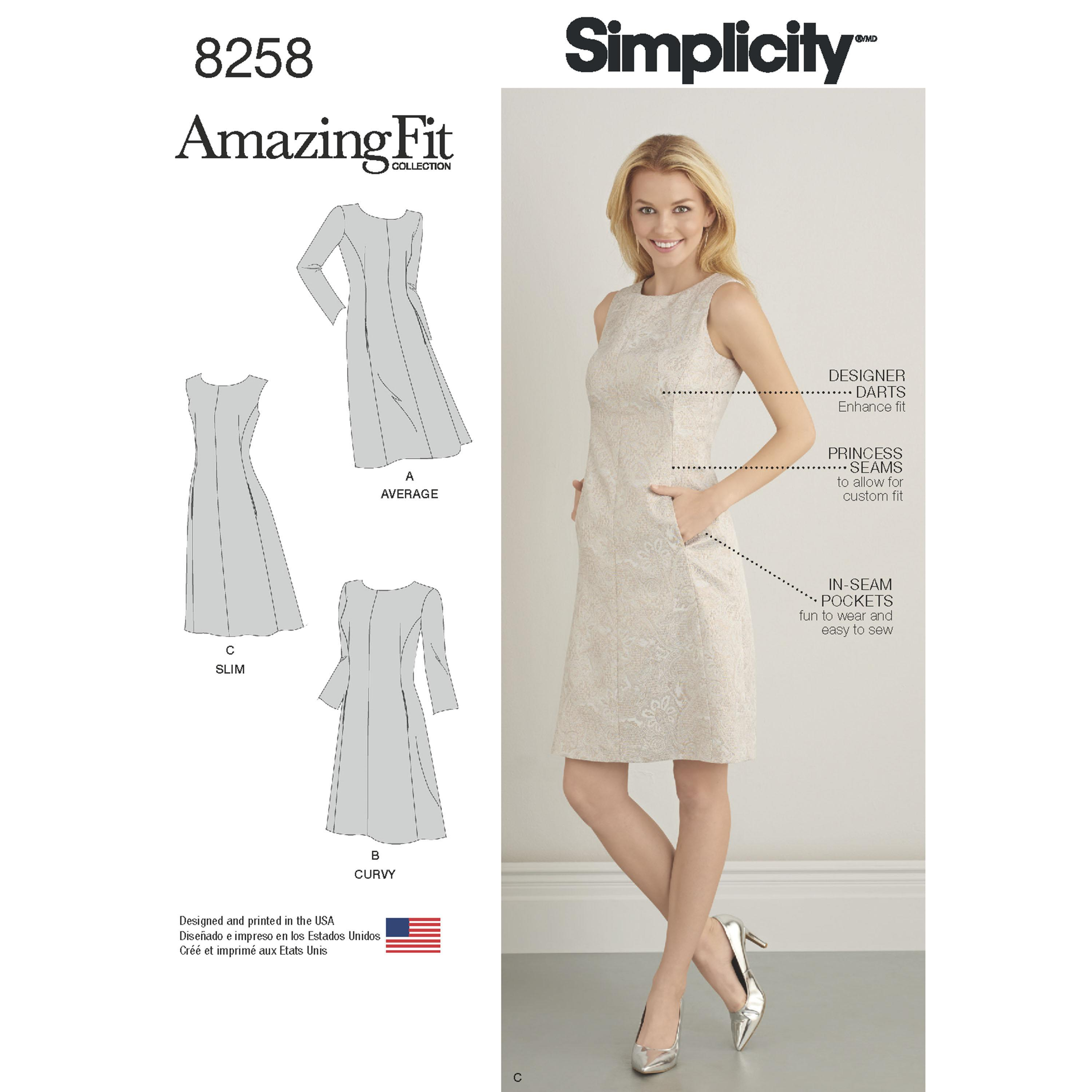 Simplicity S8258 Women's and Plus Size Amazing Fit Dress