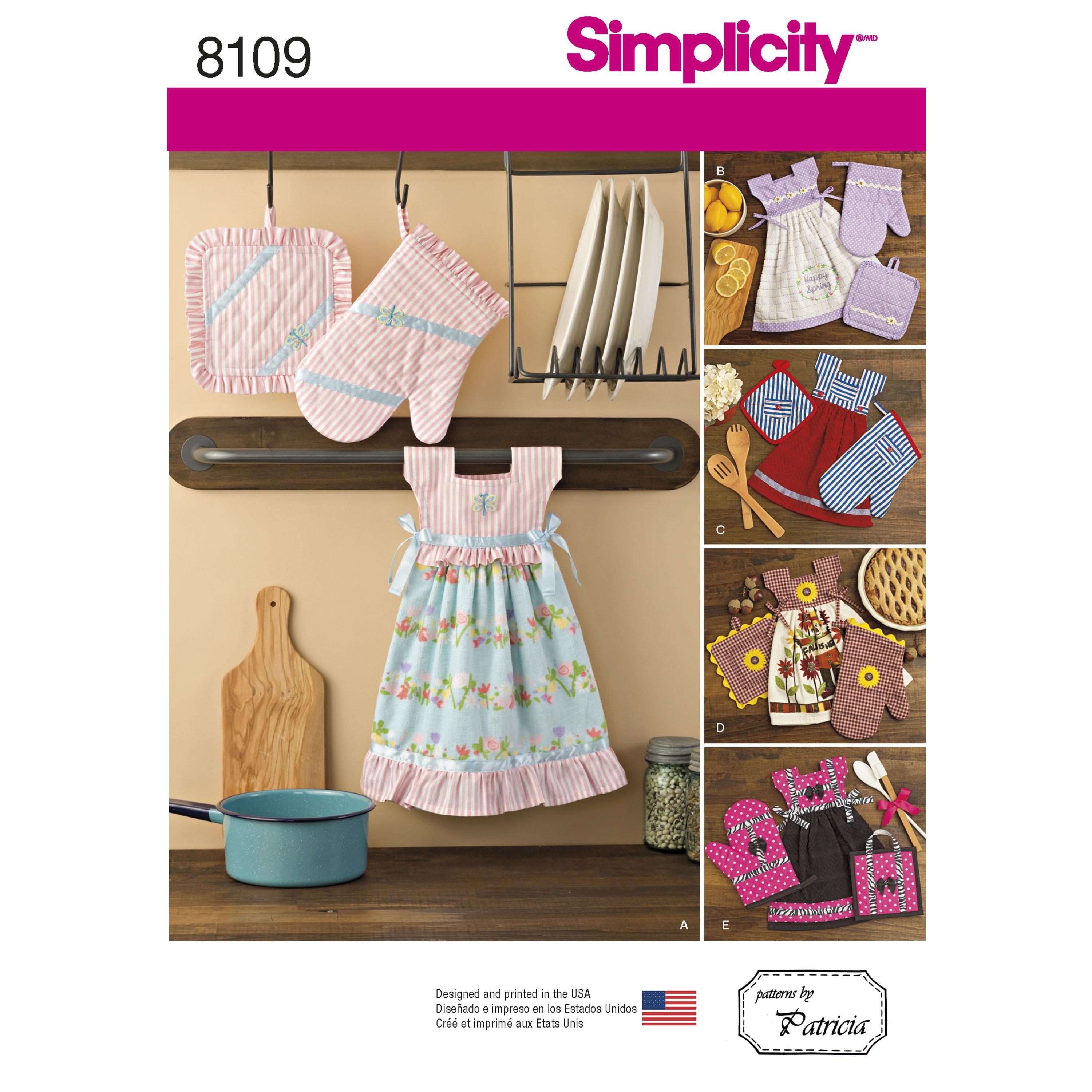 Simplicity S8109 Towel Dresses, Pot Holders and Oven Mitts