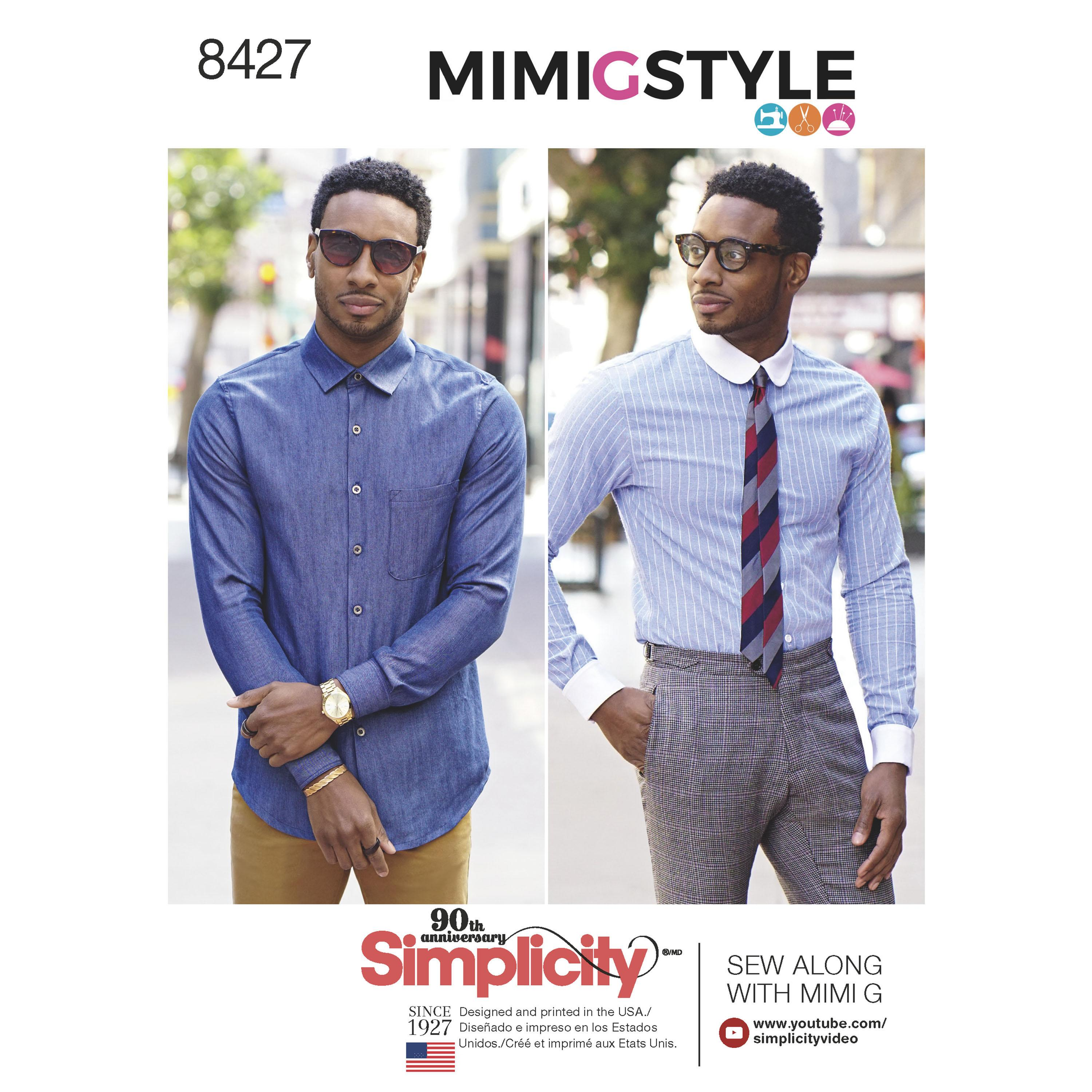 Simplicity S8427 Men's Fitted Shirt with Collar & Cuff Variations by Mimi G