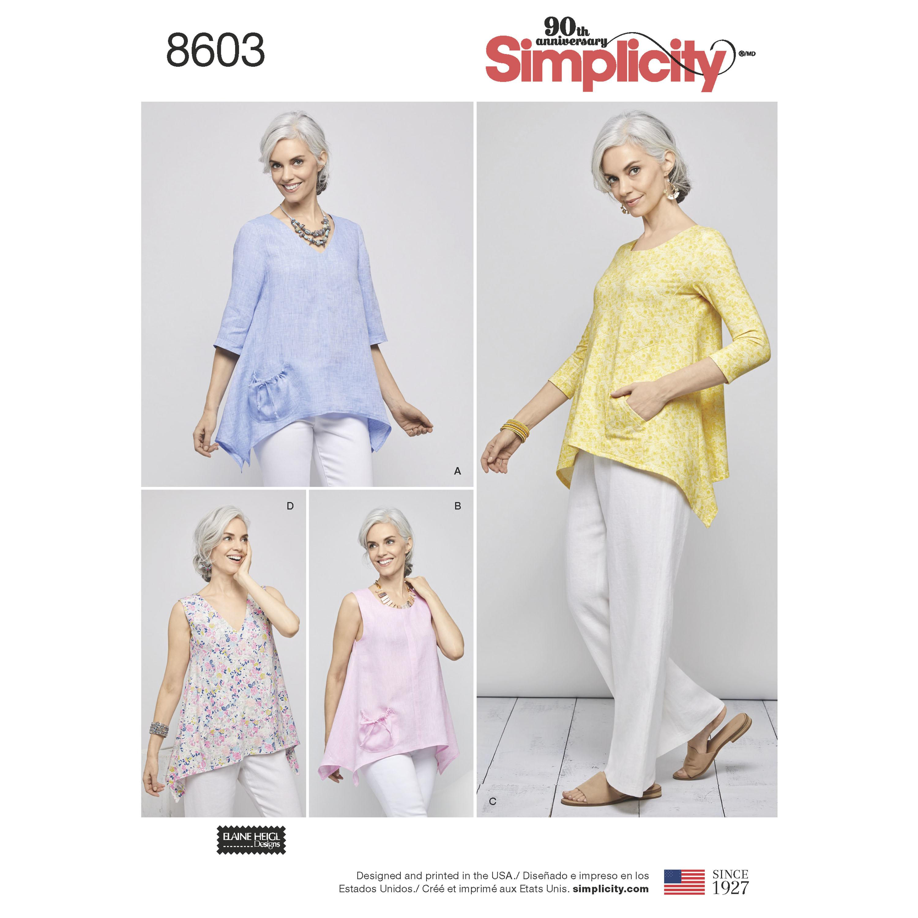 Simplicity S8603 Womens Pullover Tops by Elaine Heigl