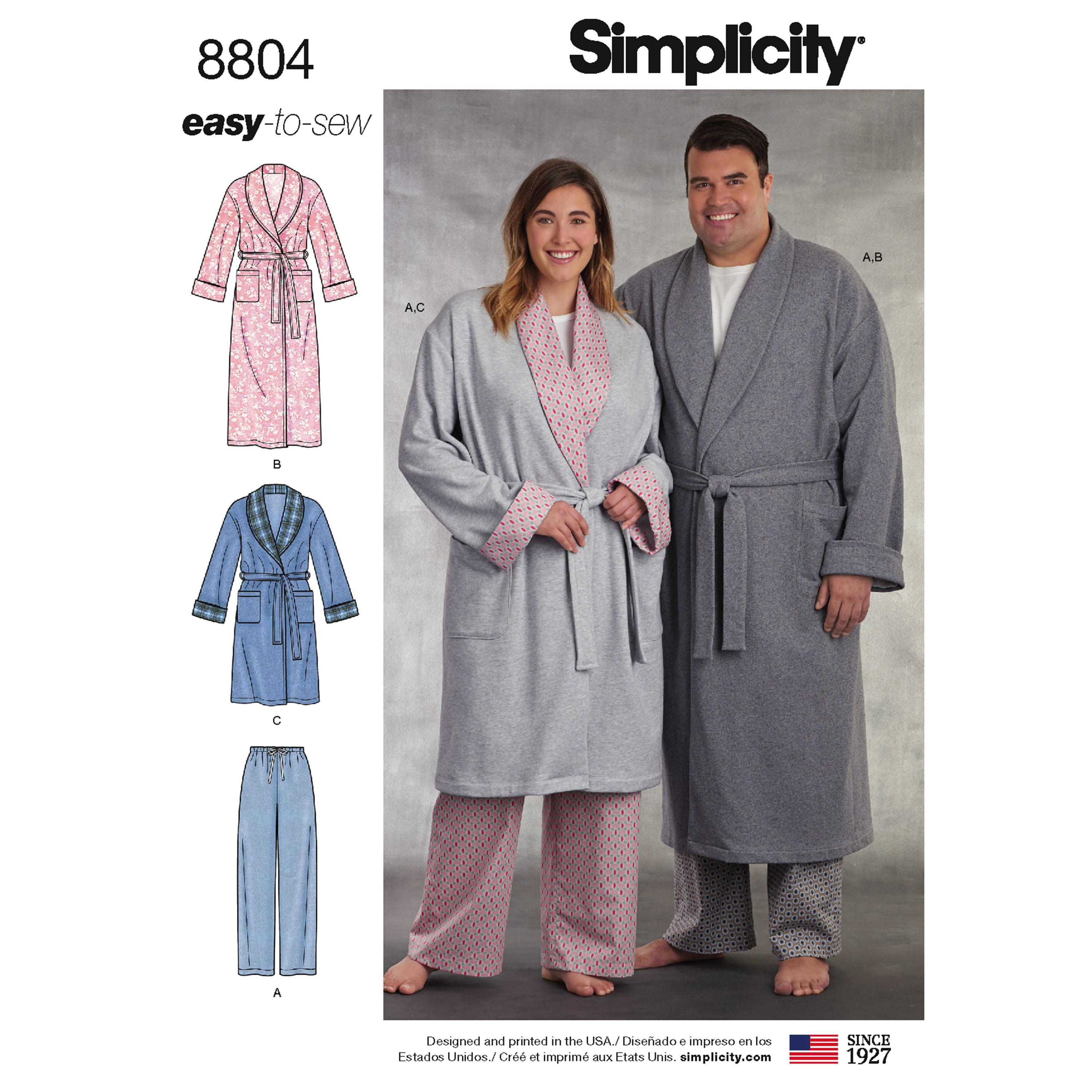 Simplicity S8804 Women's and Men's Robe and Pants