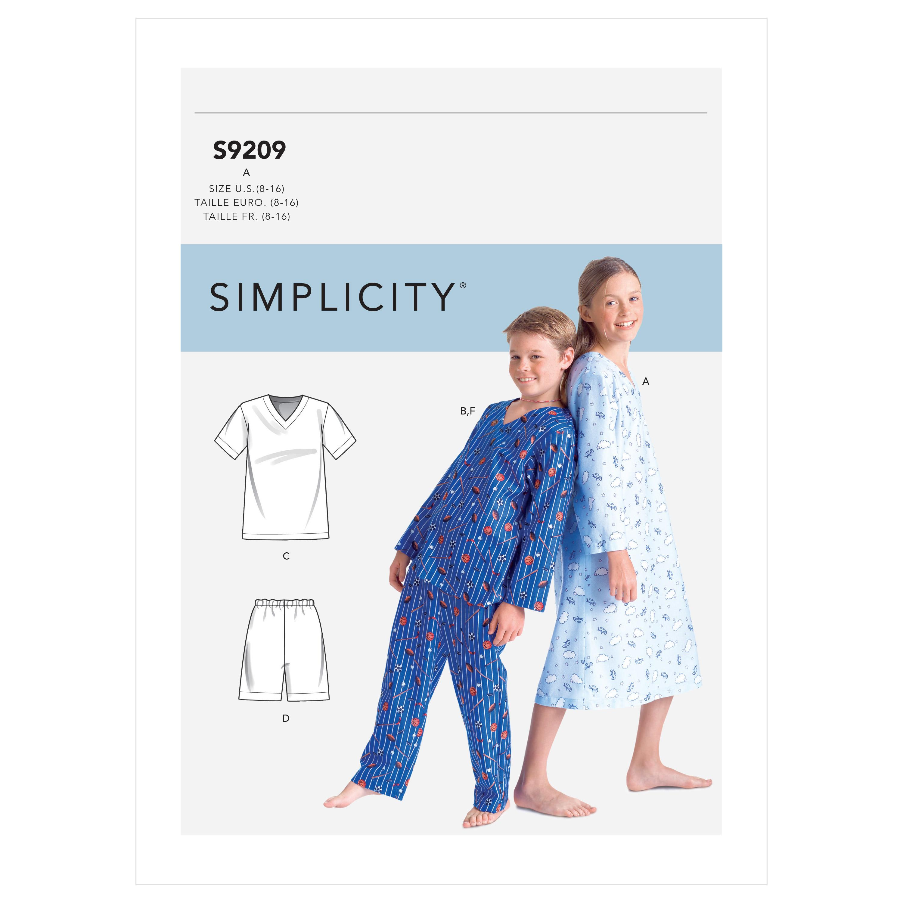 Simplicity S9209 Boys'/Girls' V-Neck Shirts, Gown, Shorts and Pants