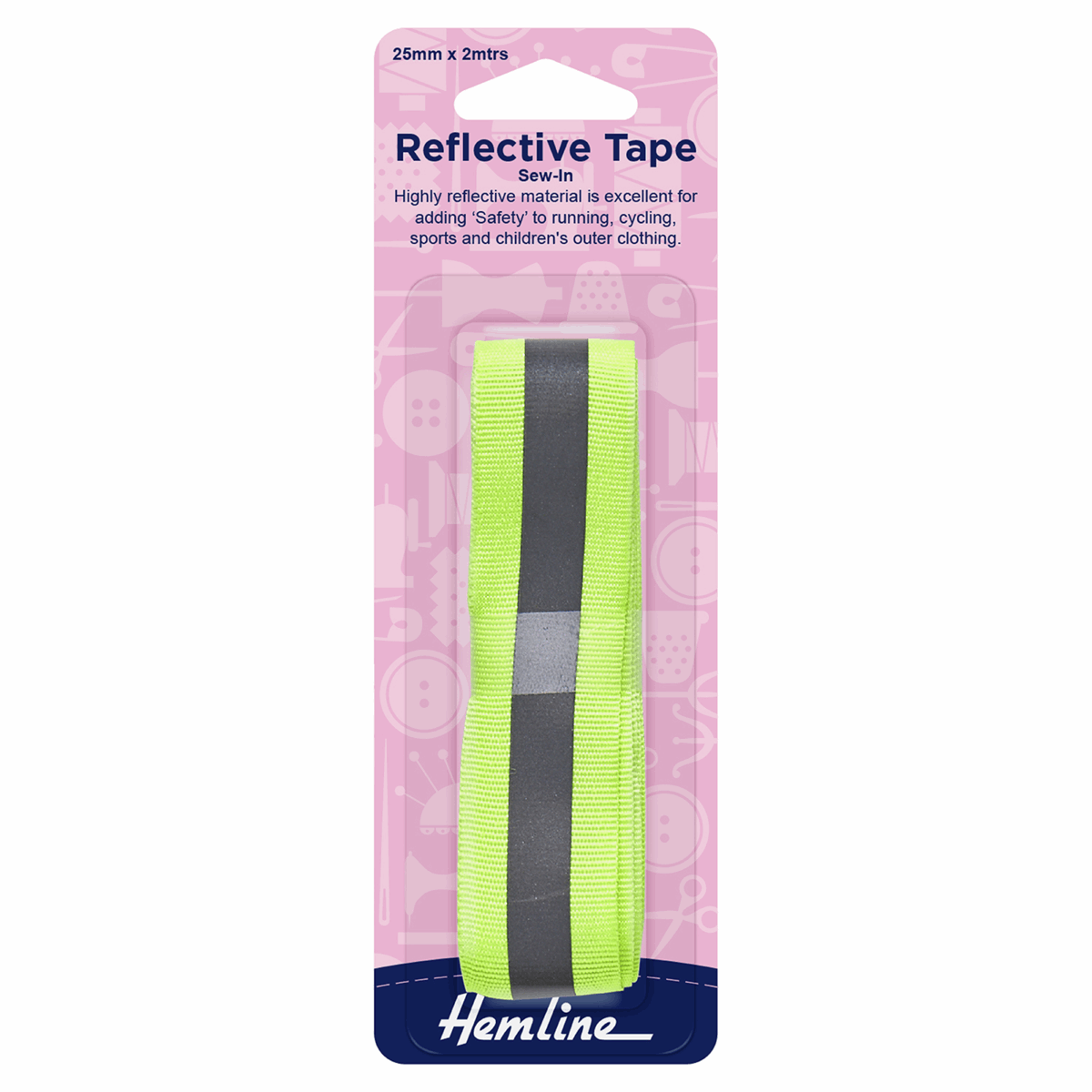 Reflective Sew-In Tape: Yellow - 2m x 25mm