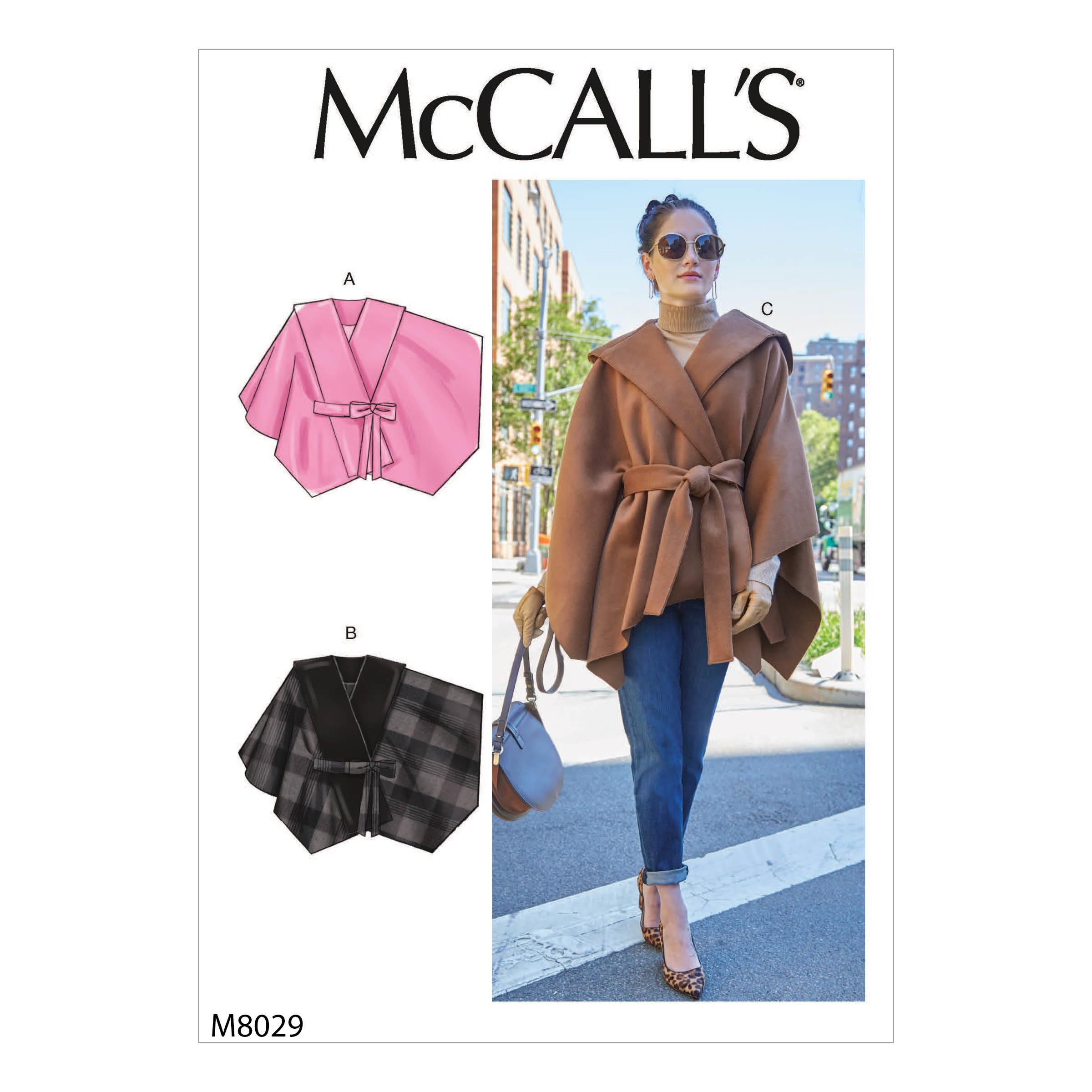 McCalls M8029 Misses Coats, Capes & Ponchos