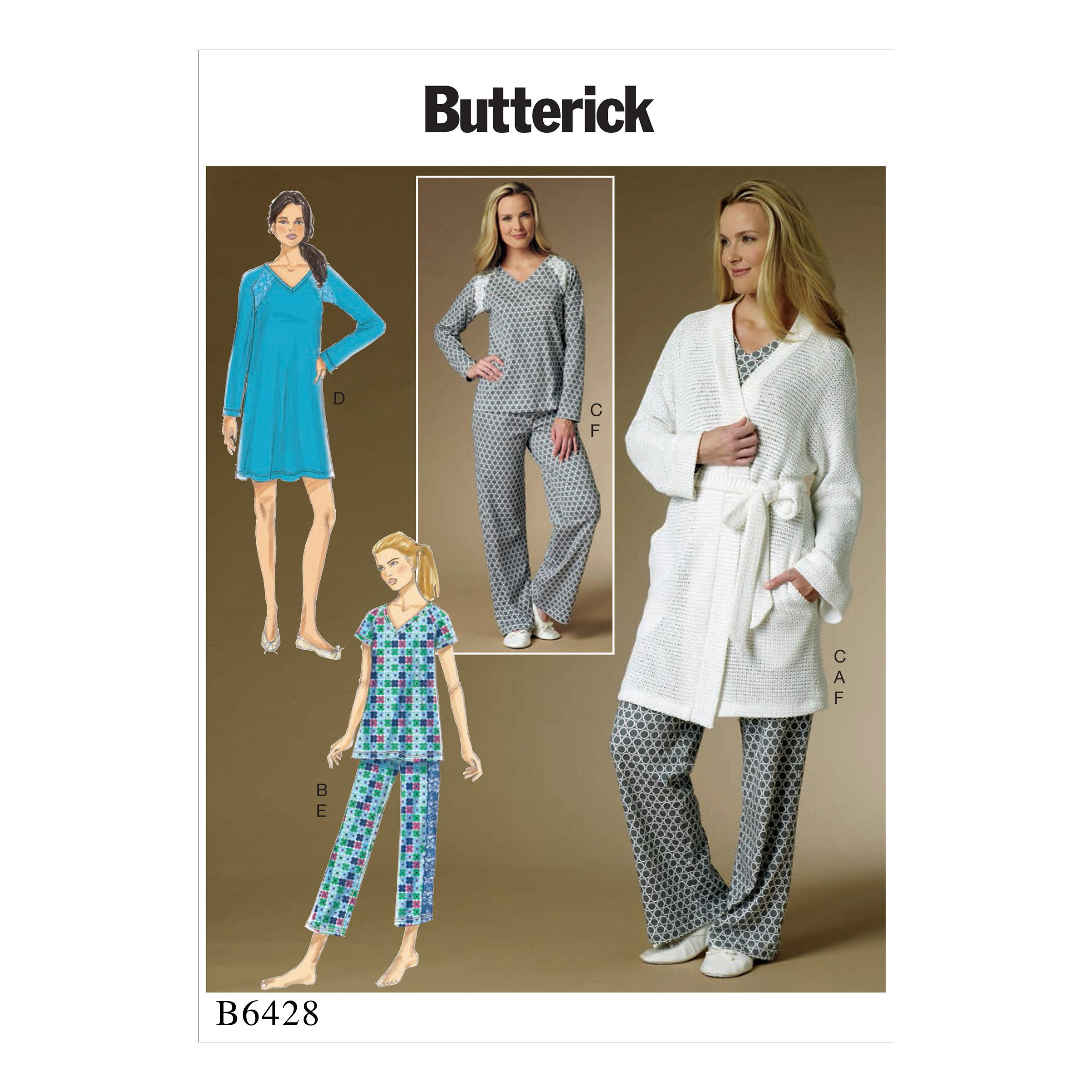 Butterick B6428 Misses' Robe, Raglan Sleeve Tops and Gown, and Pull-On Pants