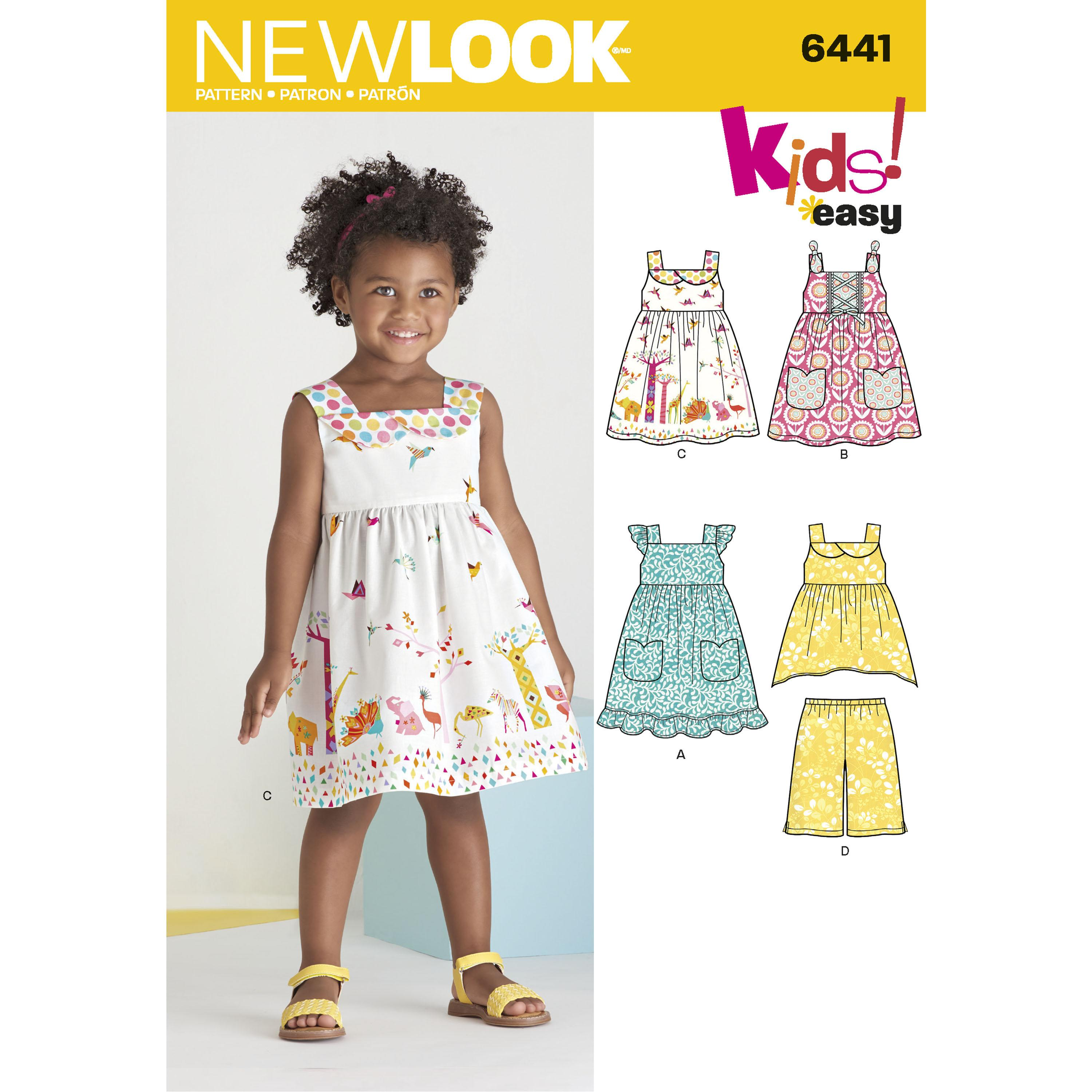 NewLook N6441 Toddlers' Easy Dresses, Top and Cropped Pants