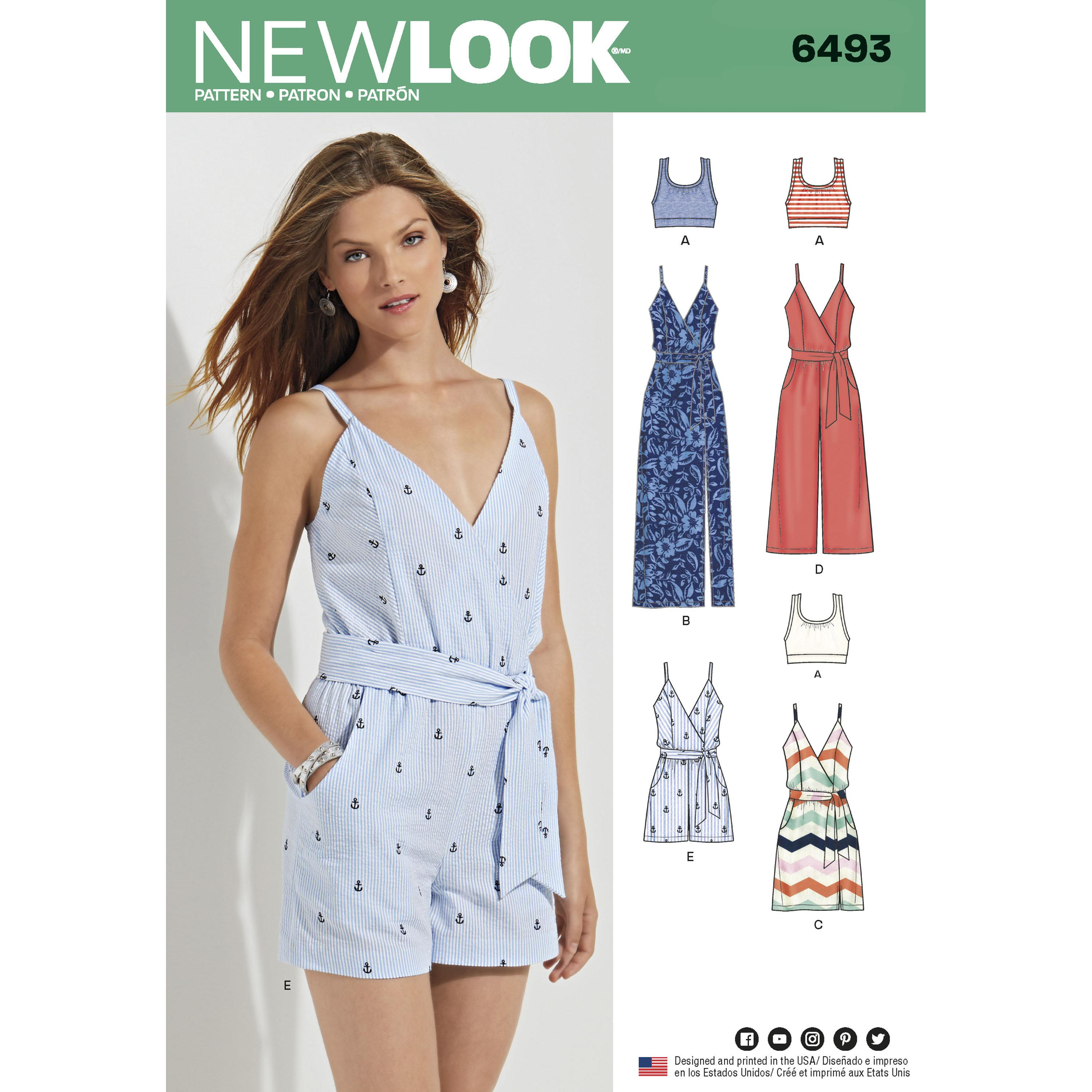 NewLook N6493 Misses' Jumpsuit and Dress in Two Lengths with Bralette