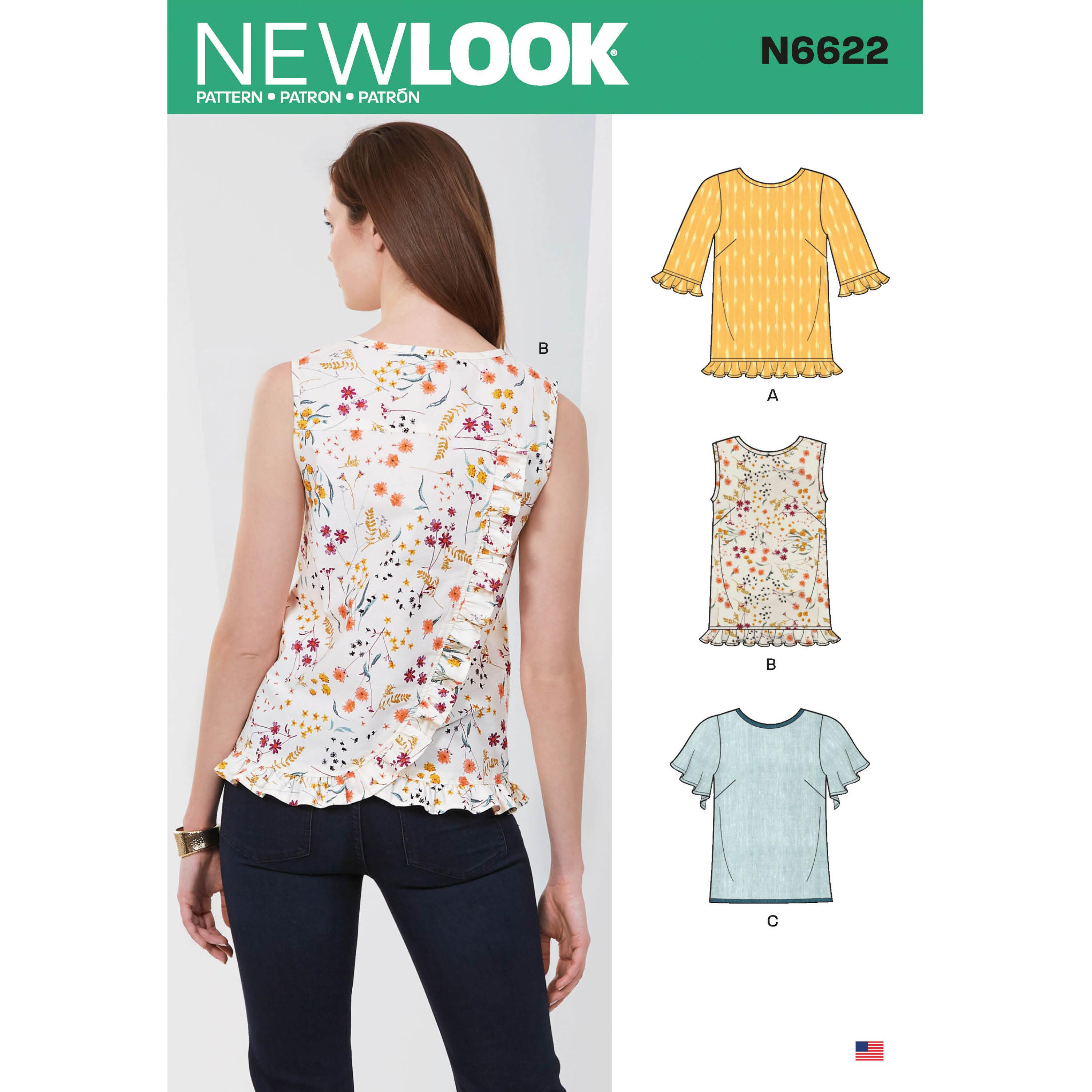 NewLook Sewing Pattern N6622 Misses' Tops