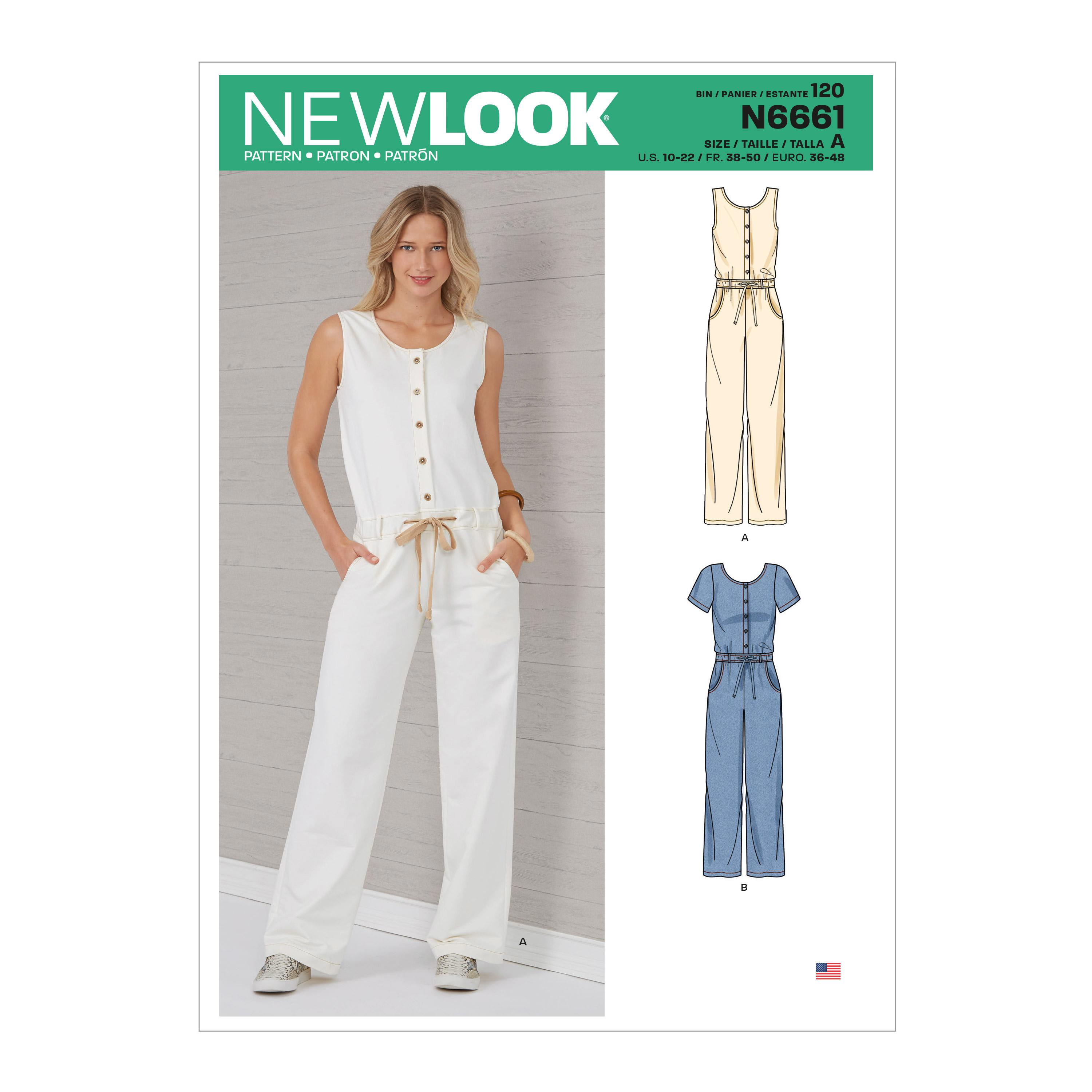 New Look Sewing Pattern N6661 Misses' Relaxed Fit Jumpsuit With Drawstring Waist