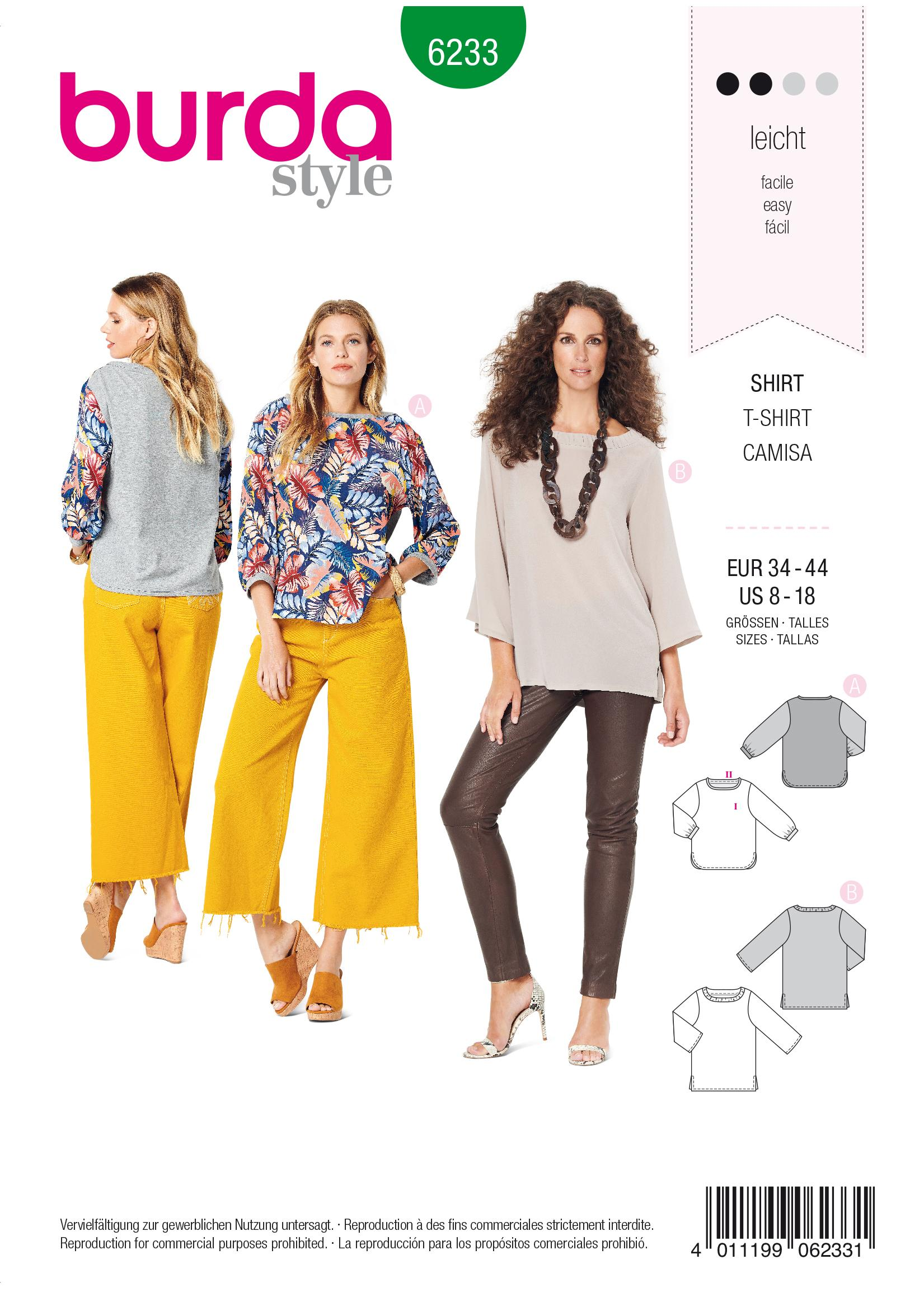 Burda B6233 Top with 3/4 Sleeves Sewing Pattern
