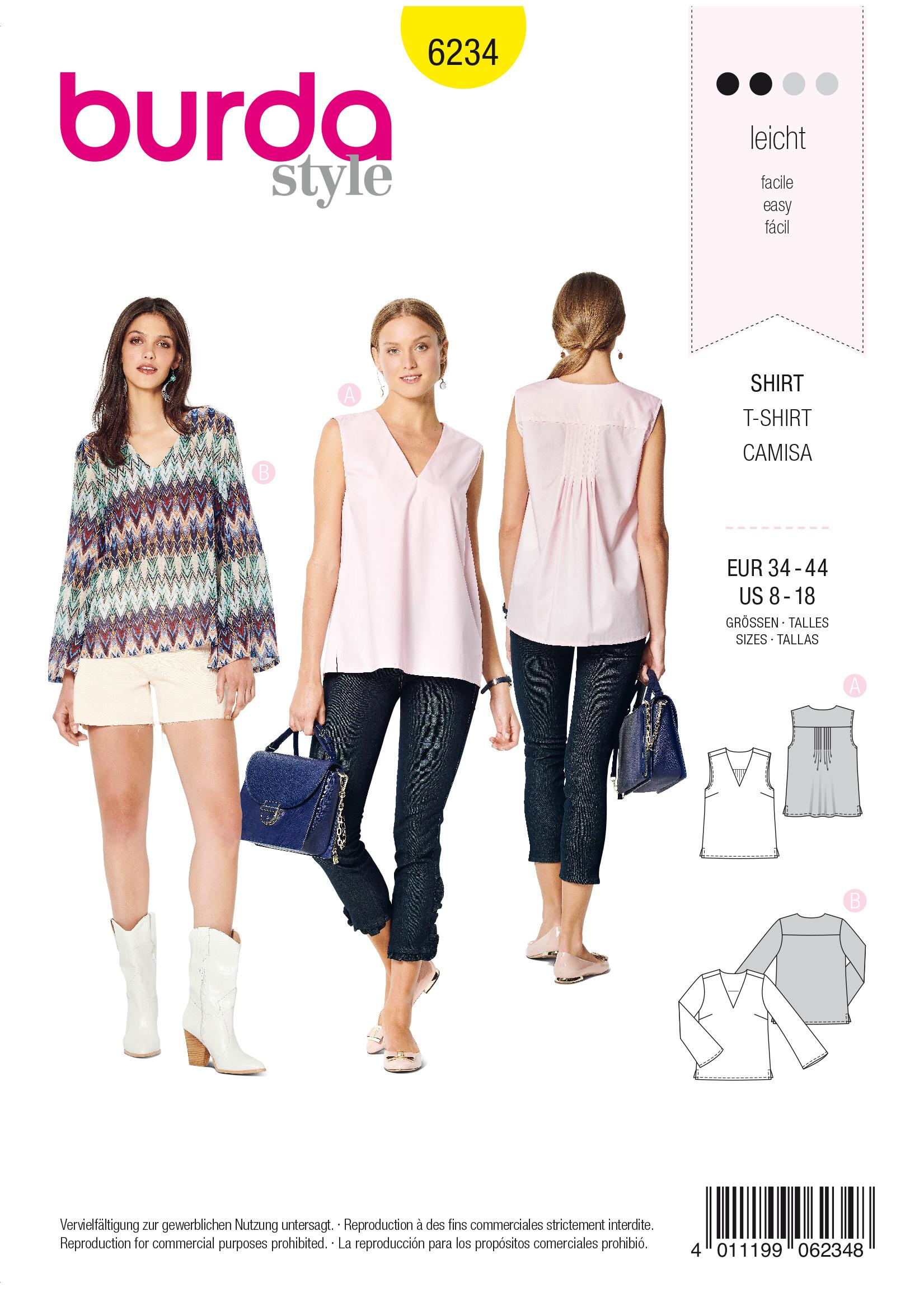Burda B6234 Women's Blouse Sewing Pattern