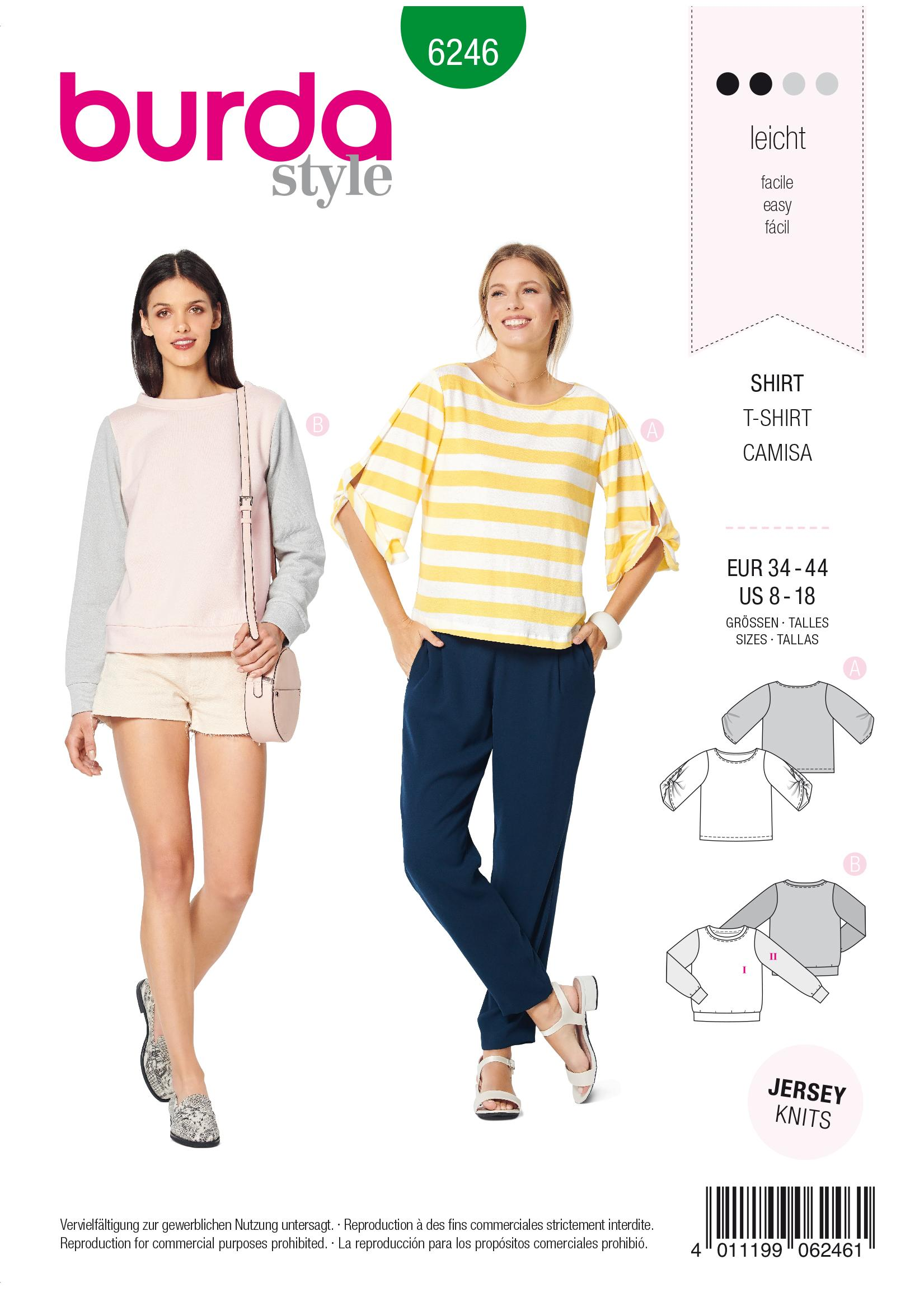 Burda B6246 Top & Sweatshirt Sewing Pattern