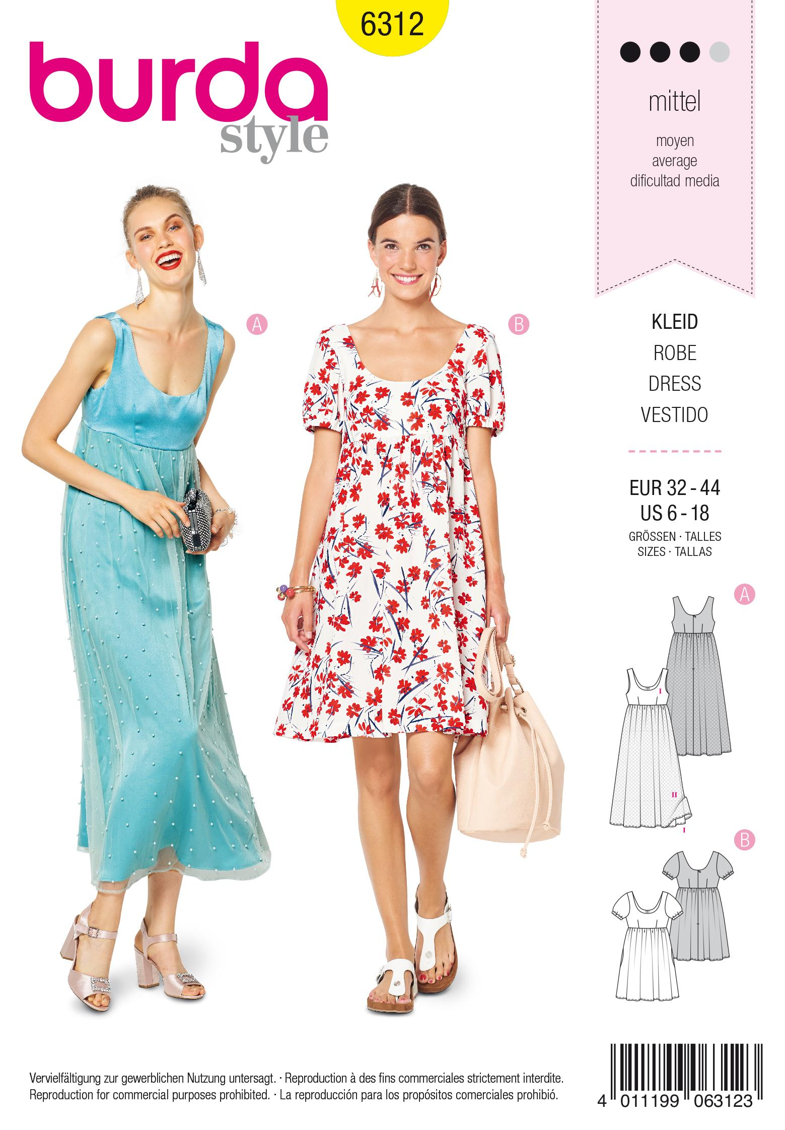 Burda 6312 Misses' ballet neckline dress