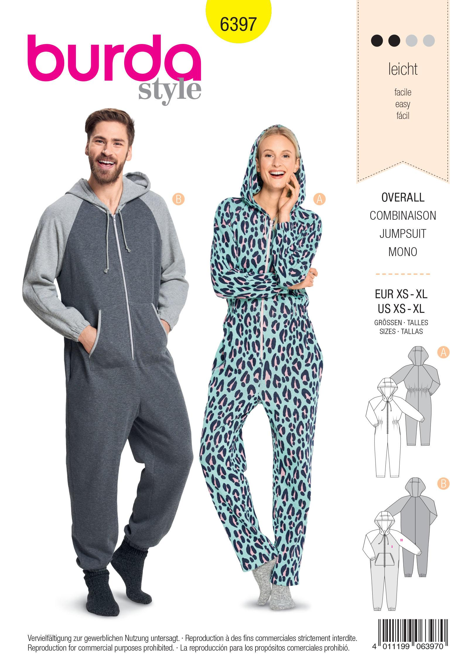 Burda B6397 Unisex Hodded Jumpsuit