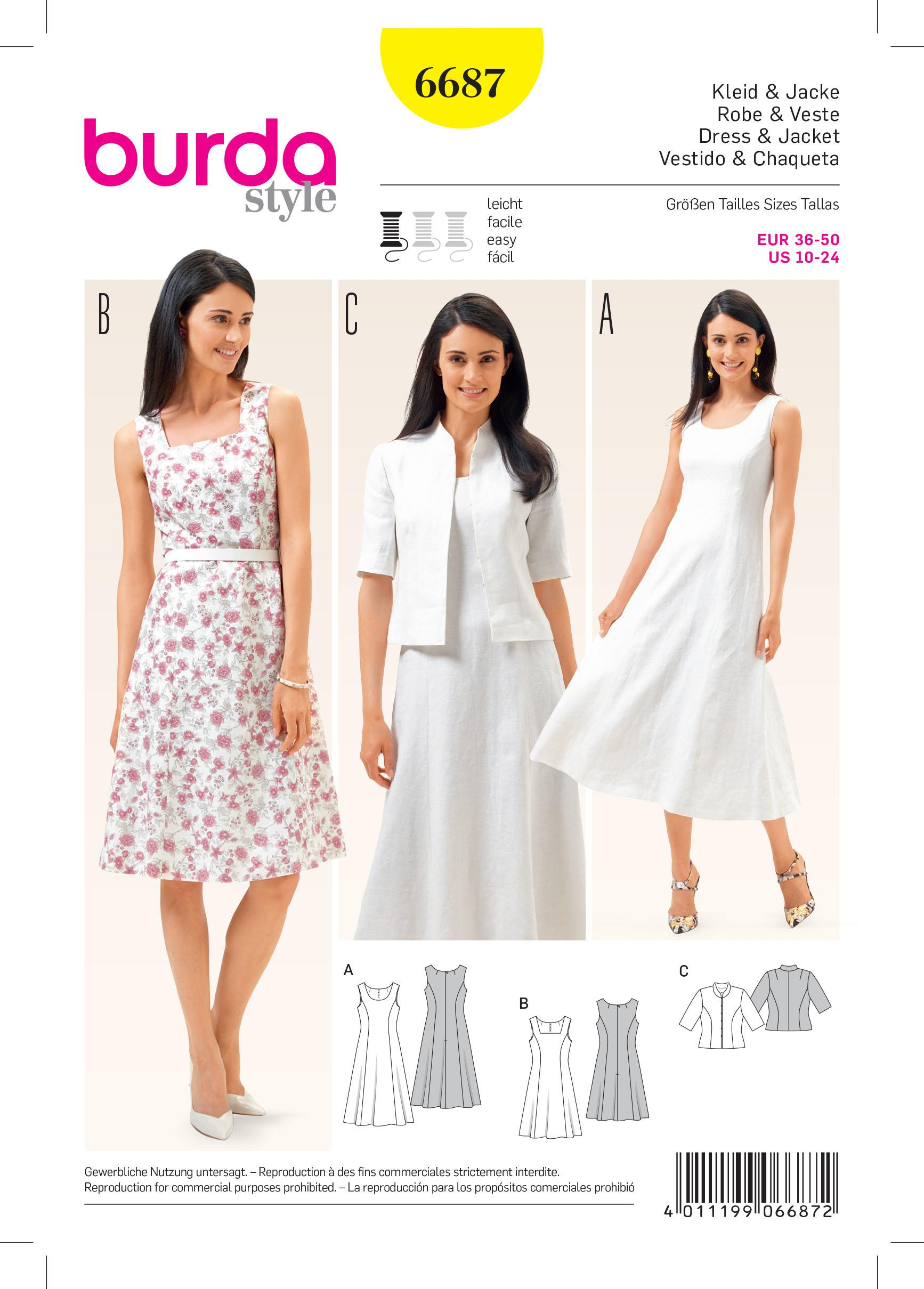 Burda B6687 Women's Dress & Jacket Sewing Pattern