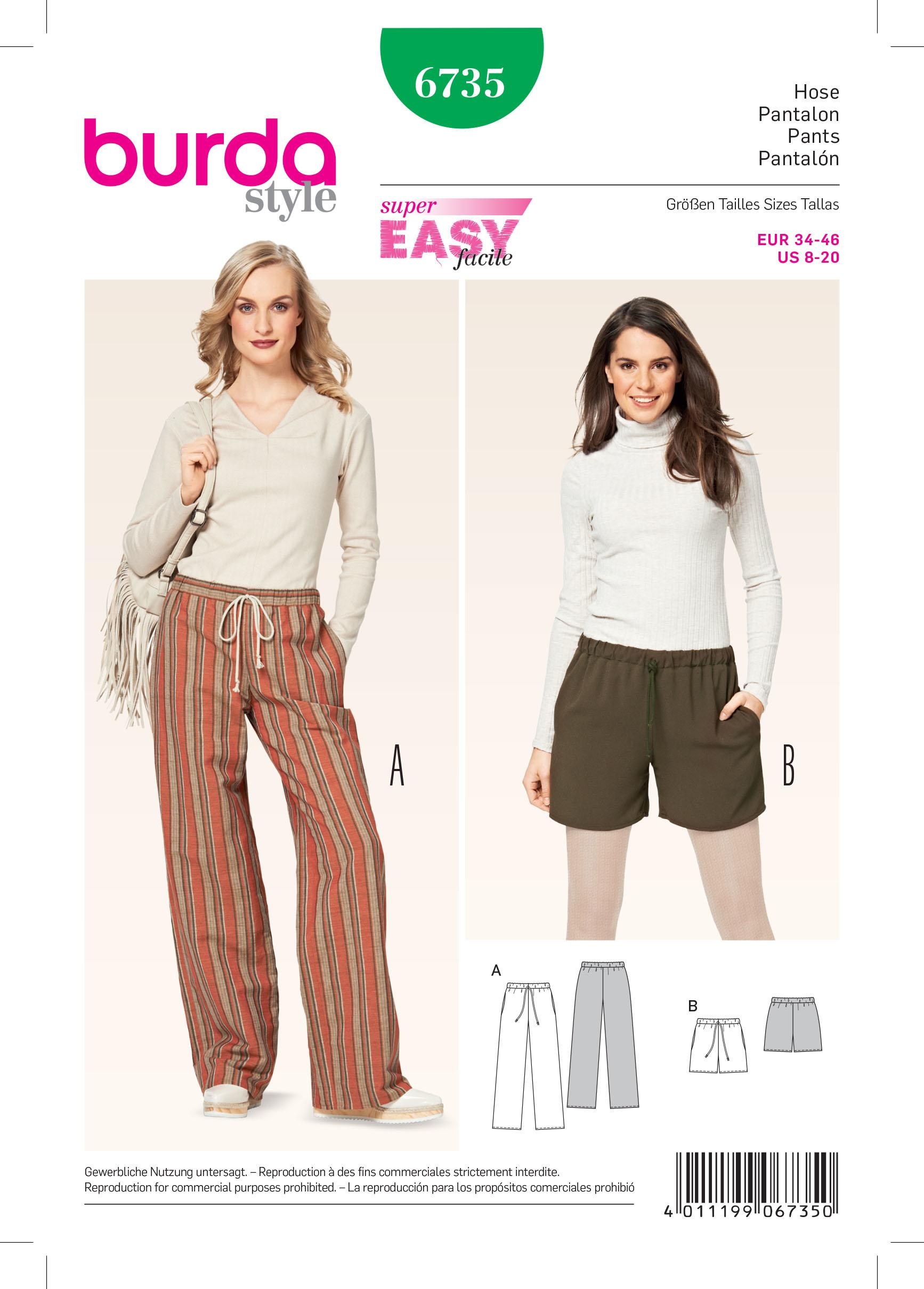 Burda B6735 Women's Trousers Sewing Pattern