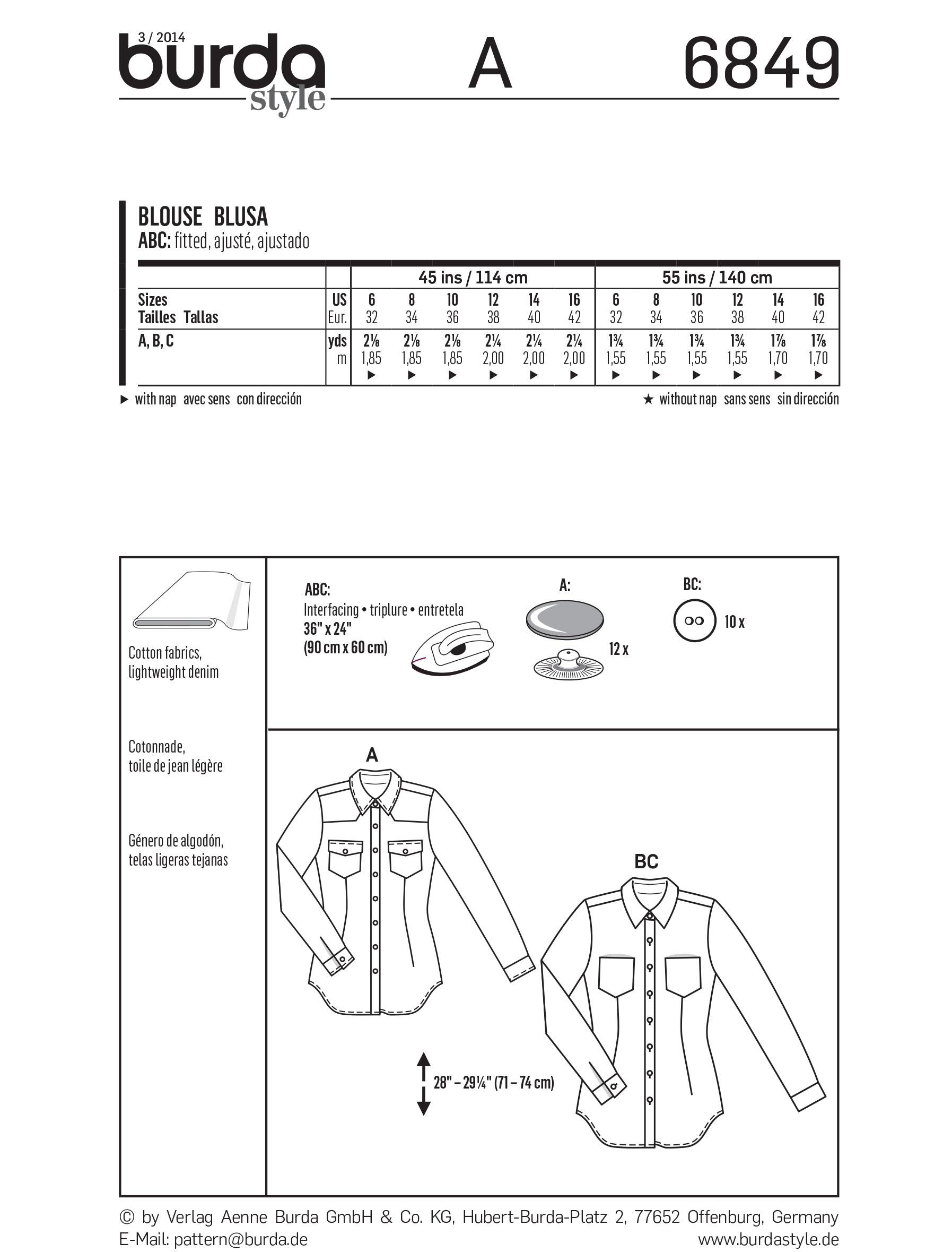 Burda B6849 Top, Shirt & Blouse Sewing Pattern