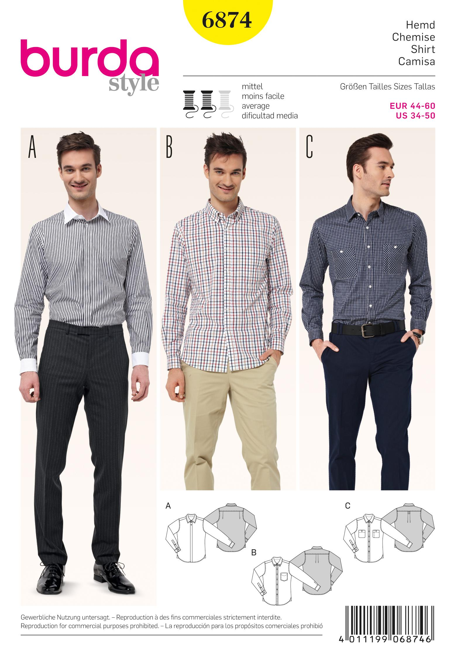 Burda B6874 Menswear Sewing Pattern