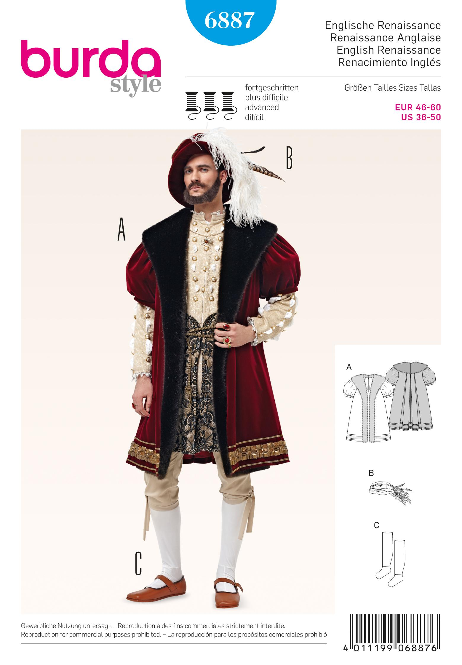 Burda B6887 Burda historical costumes Sewing Pattern