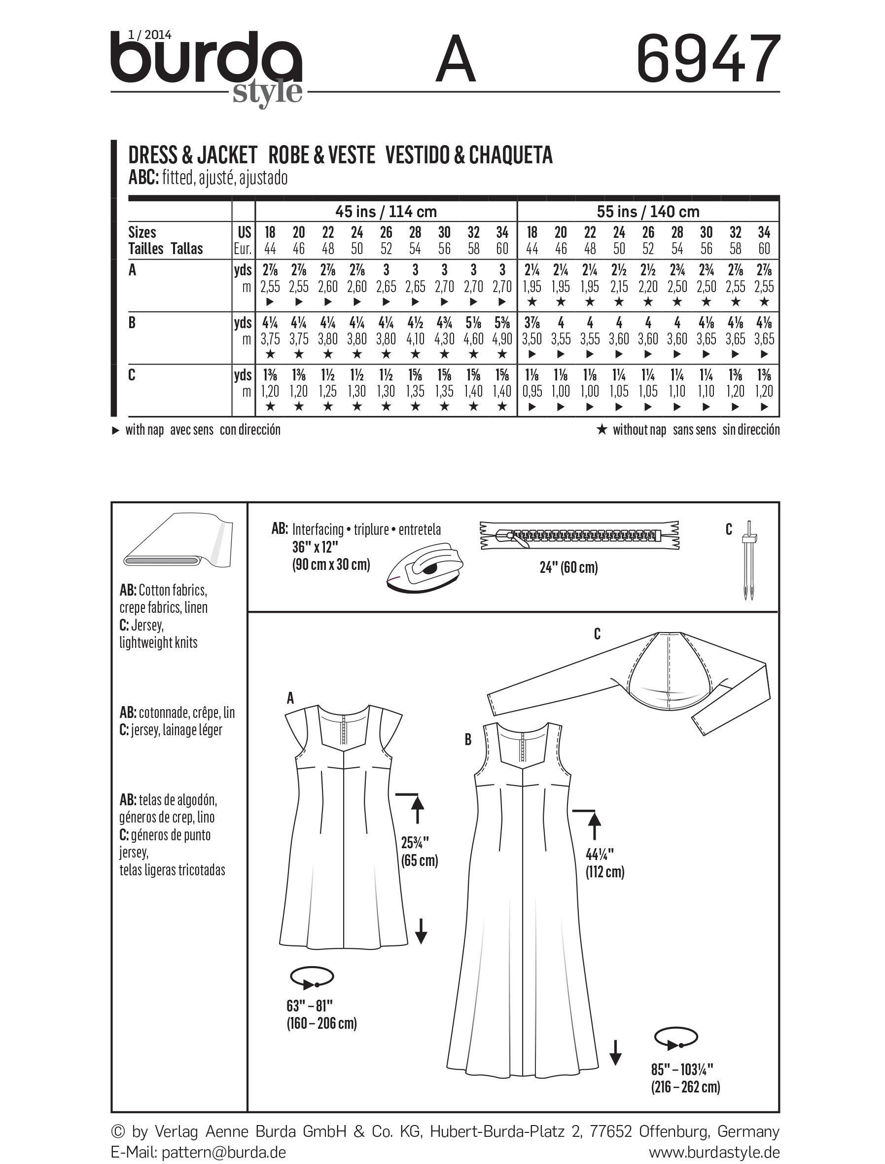 Burda B6947 Burda Plus to size 60 Sewing Pattern