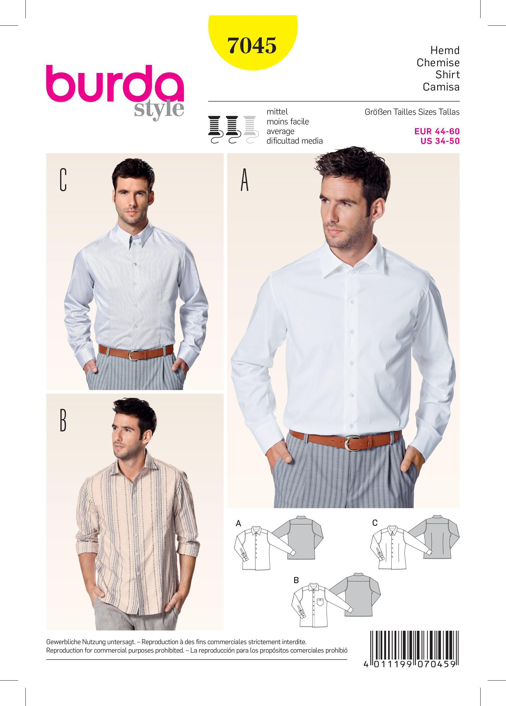 Burda B7045 Shirt Sewing Pattern