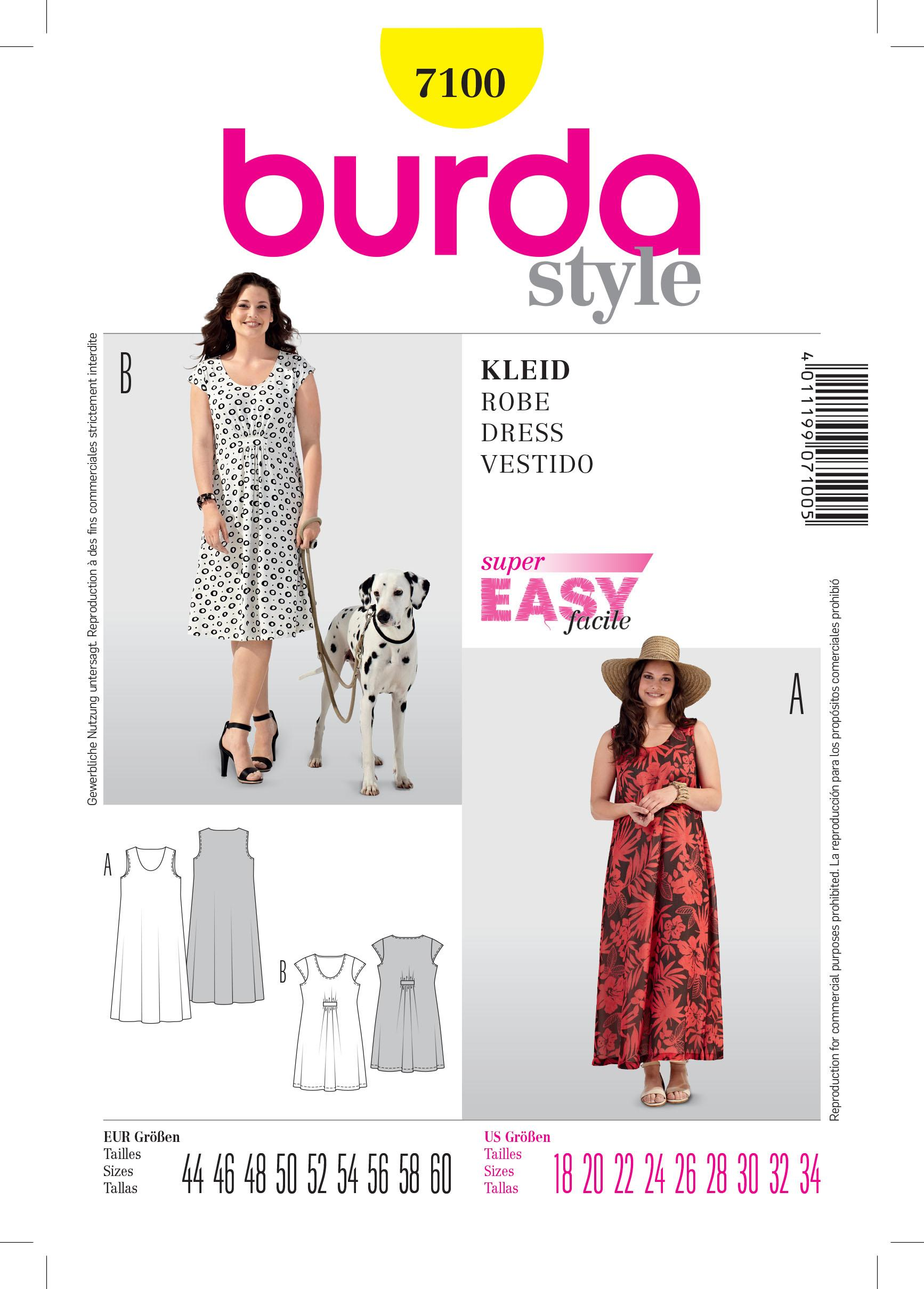Burda B7100 Dress Sewing Pattern