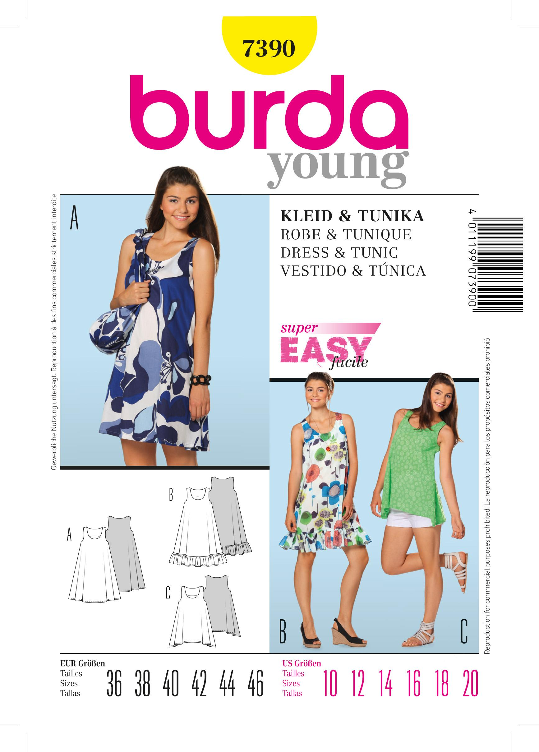 Burda B7390 Dress & Tunic Sewing Pattern