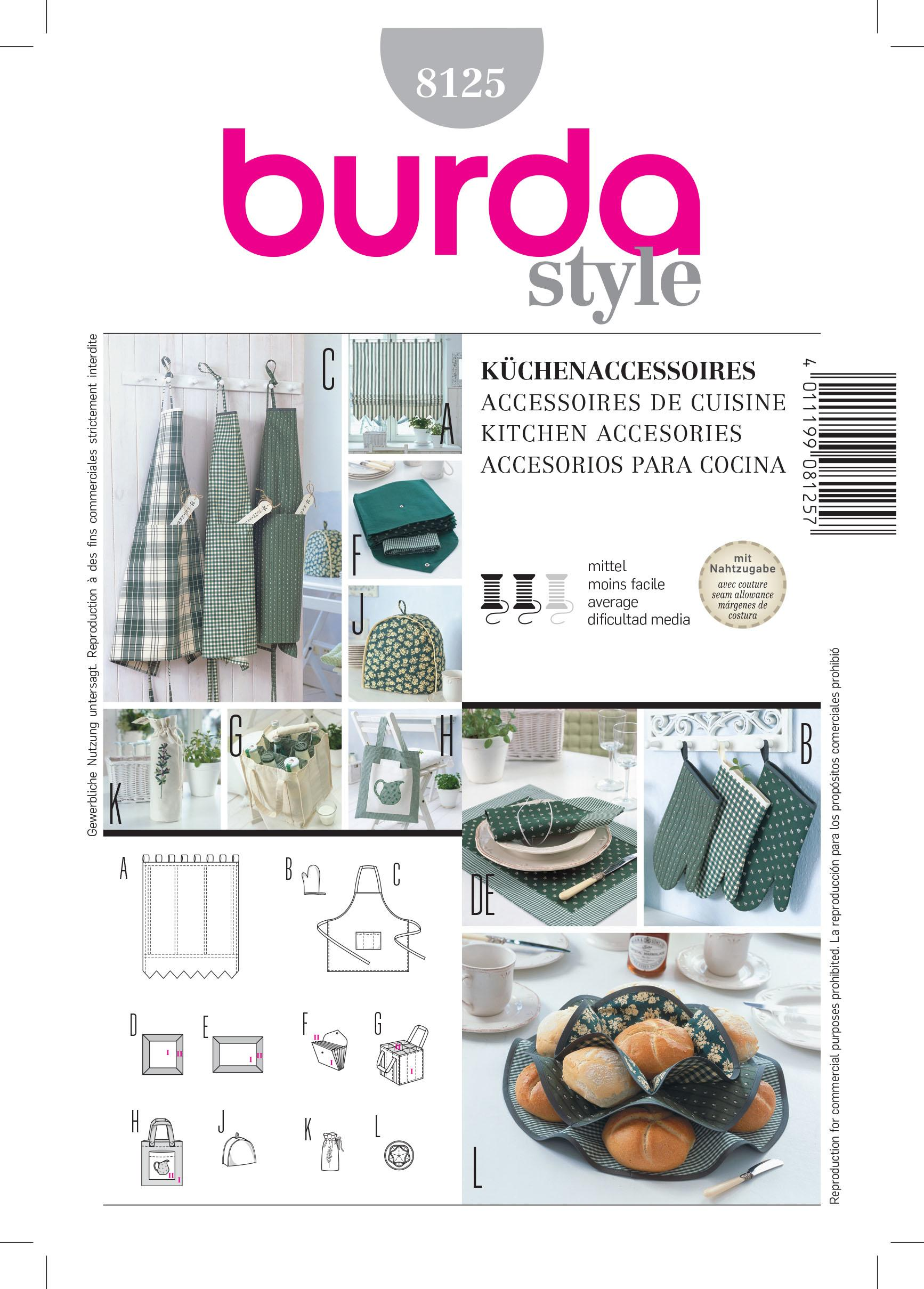 Burda B8125 Kitchen Accessories Sewing Pattern
