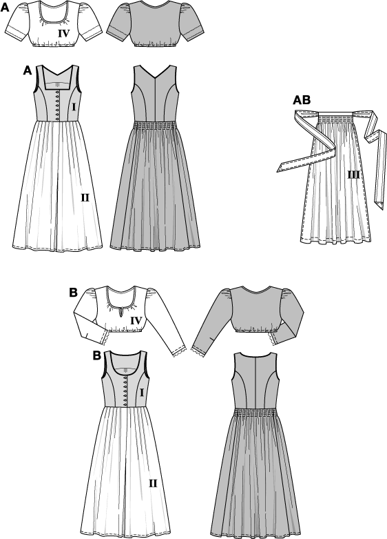 Burda B8448 Dirndl Dress Sewing Pattern