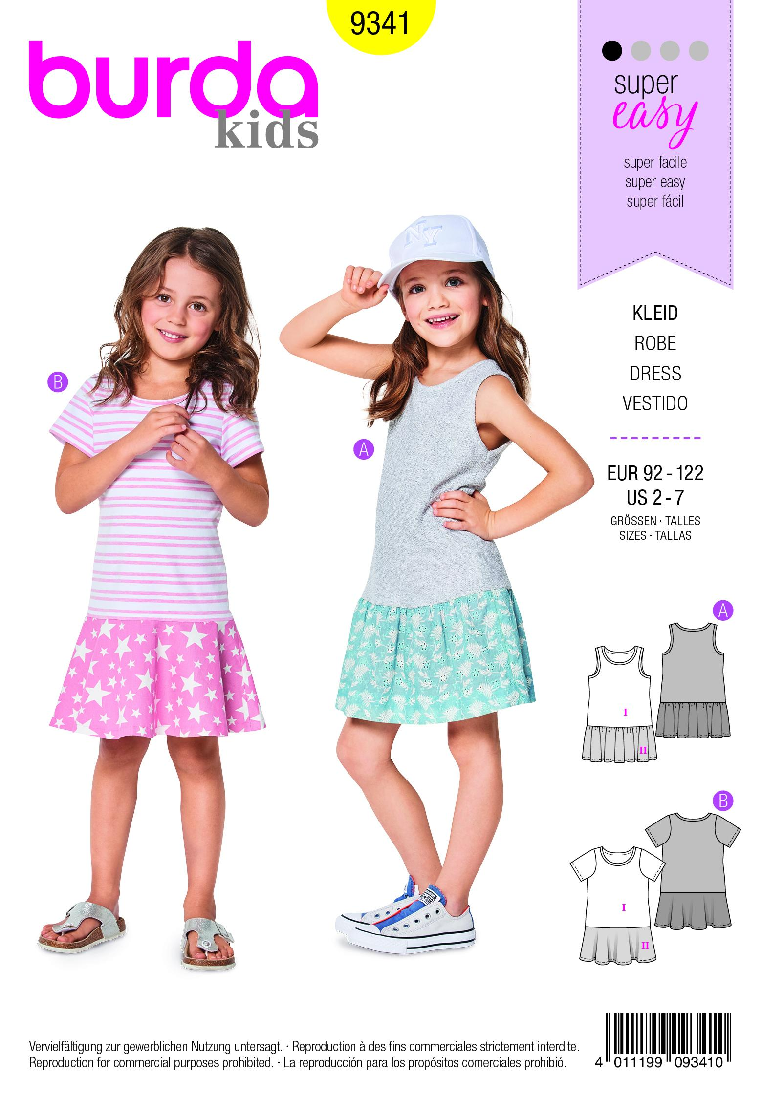 Burda B9341 Child's Summer Jersey Dresses