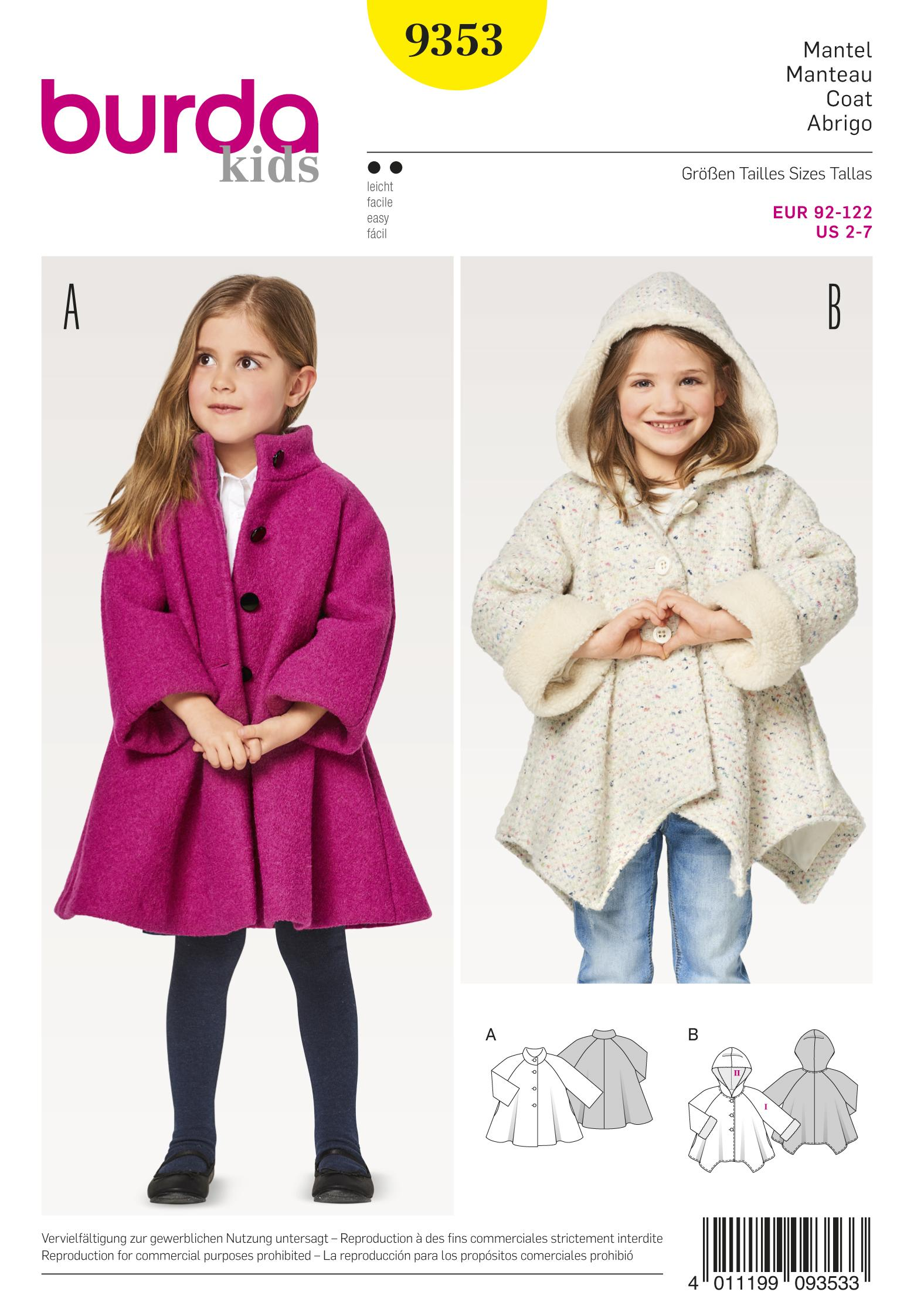 Burda B9353 Child's A-Line Coat