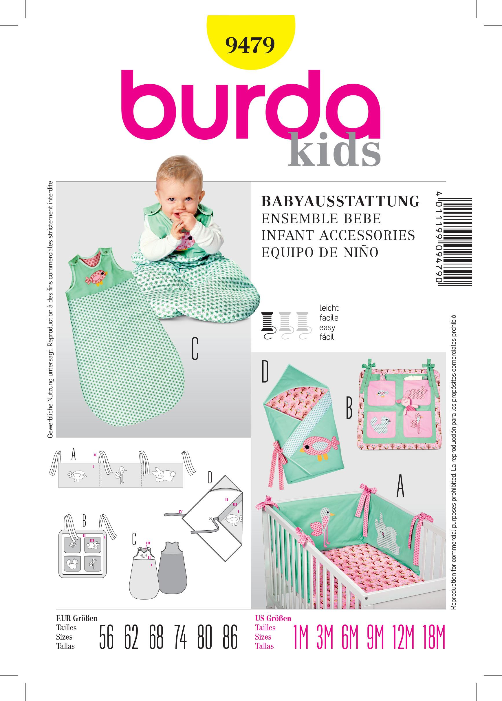 Burda B9479 Infant Accessories  Sewing Pattern