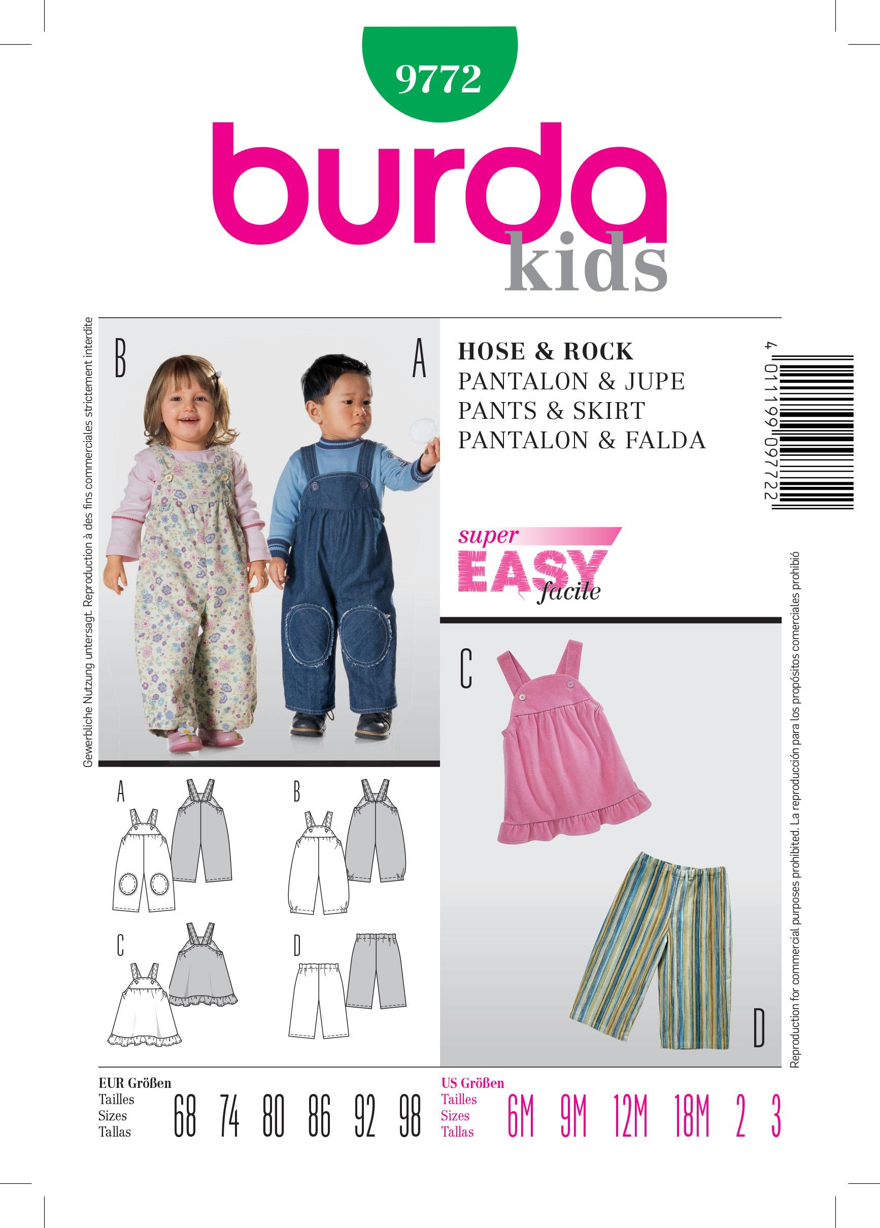 Burda B9772 Trousers & Skirt Sewing Pattern