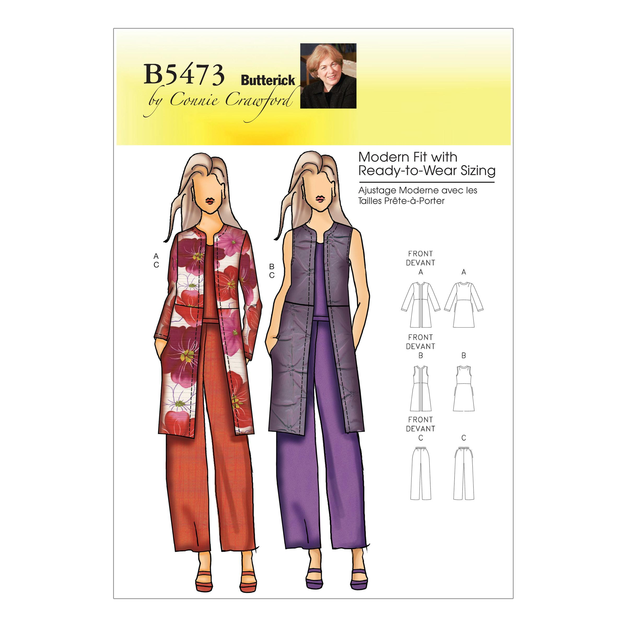 Butterick B5473 Misses'/Women's Jacket, Vest and Pants