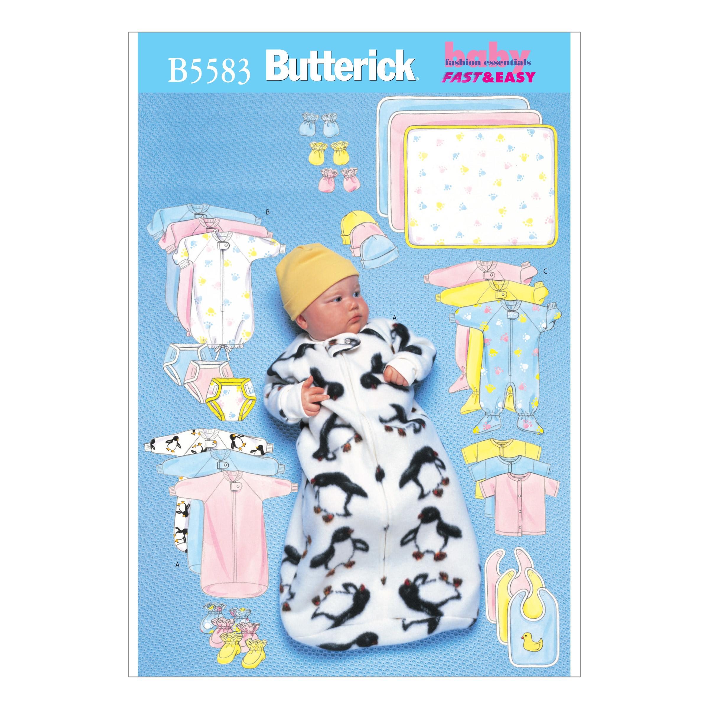 Butterick B5583 Infants' Bunting, Jumpsuit, Shirt, Diaper Cover, Blanket, Hat, Bib, Mittens and Booties
